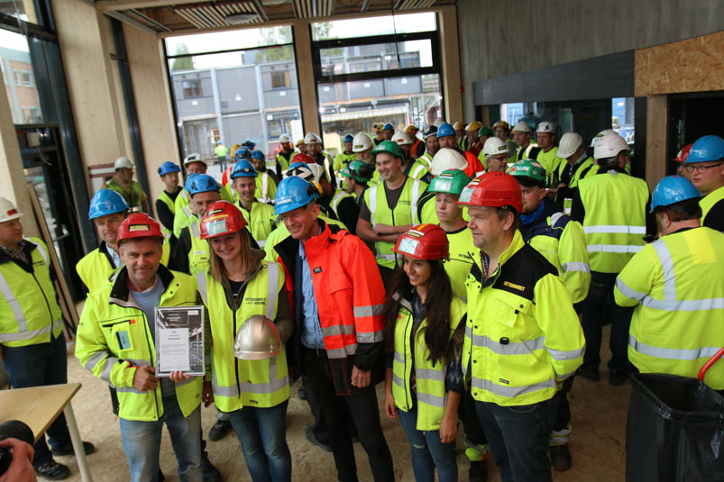 The team received the Golden Hard Hat and cake yesterday on site