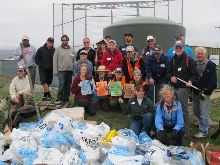Our volunteers after a workday with the total amount of trash we collected for 2013!