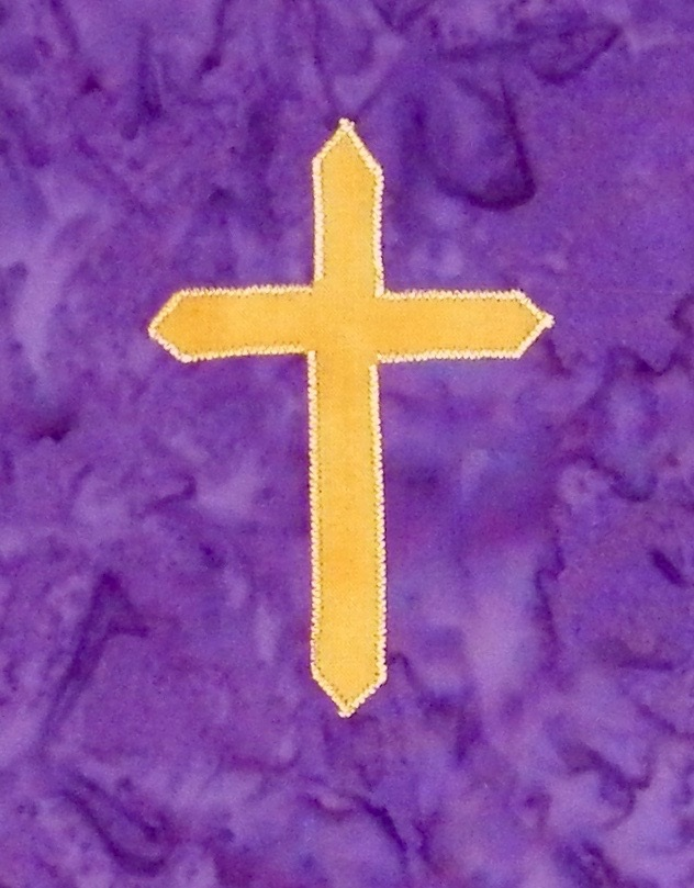 Passion cross - A simple stole with a base of beautiful purple batik.