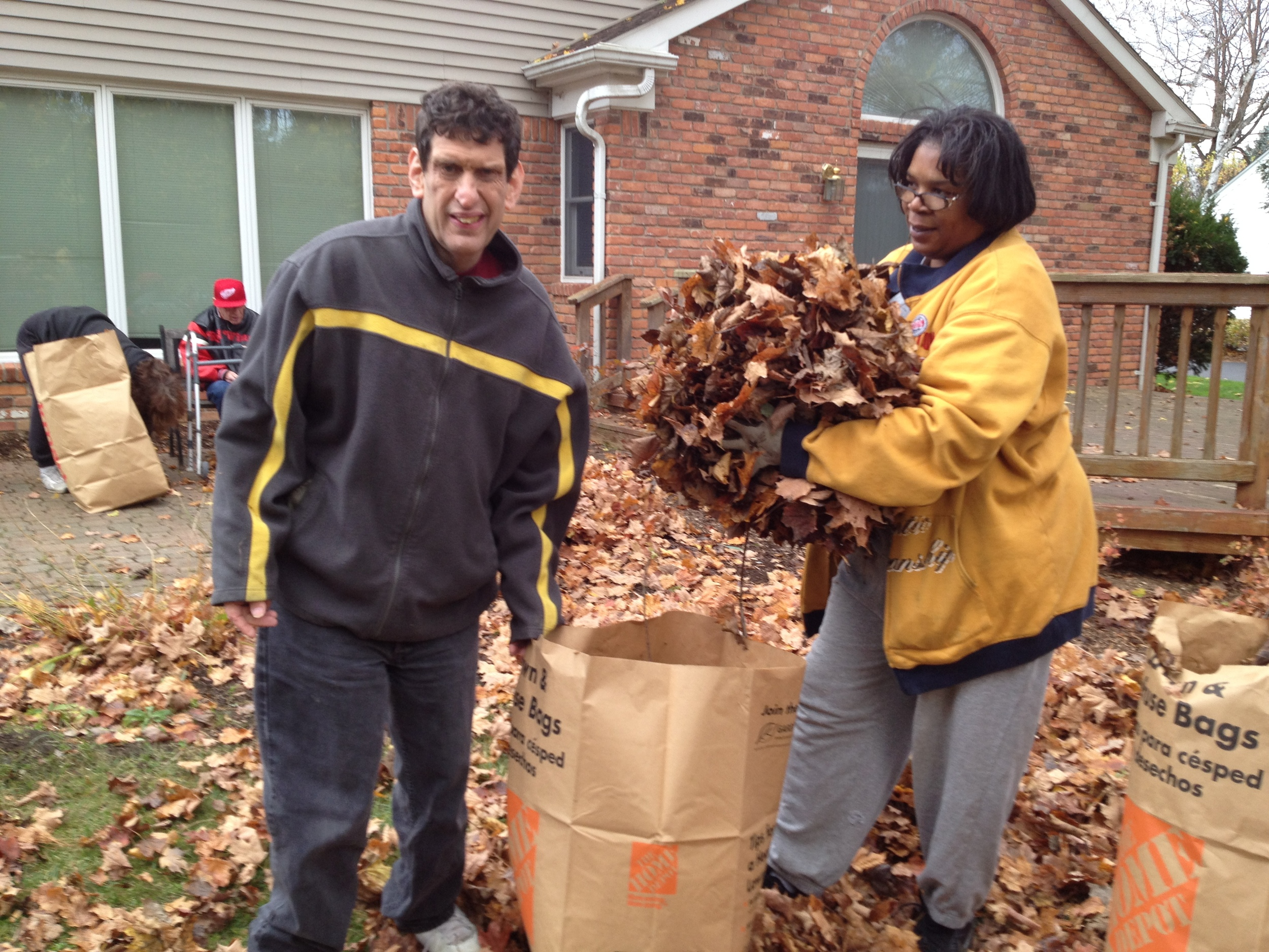 Ross helping with some fall clean up at his home in Farmington Hills