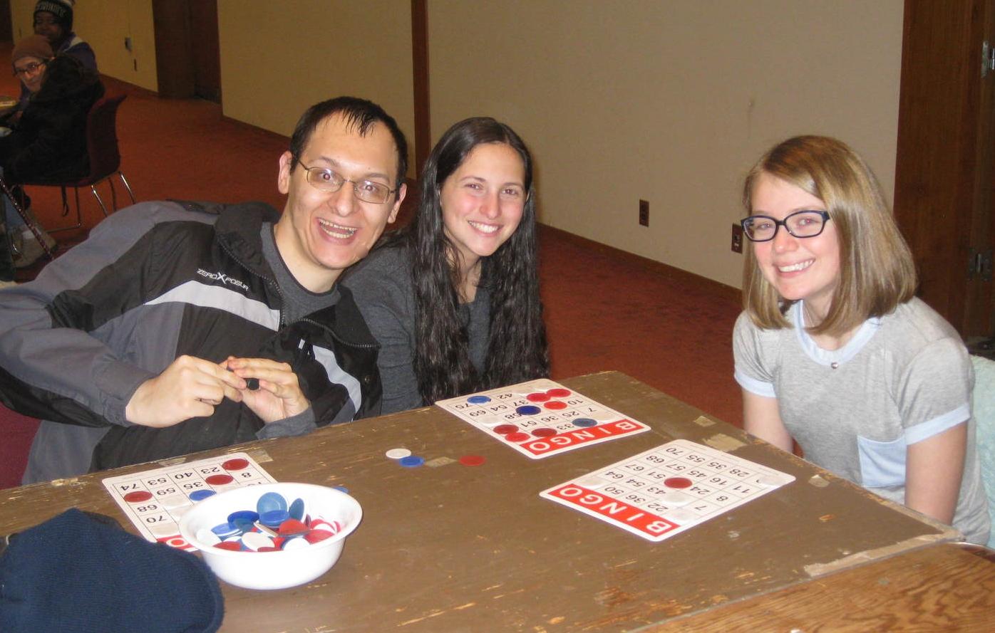 MCUSY teens volunteering at a monthly Bingo night