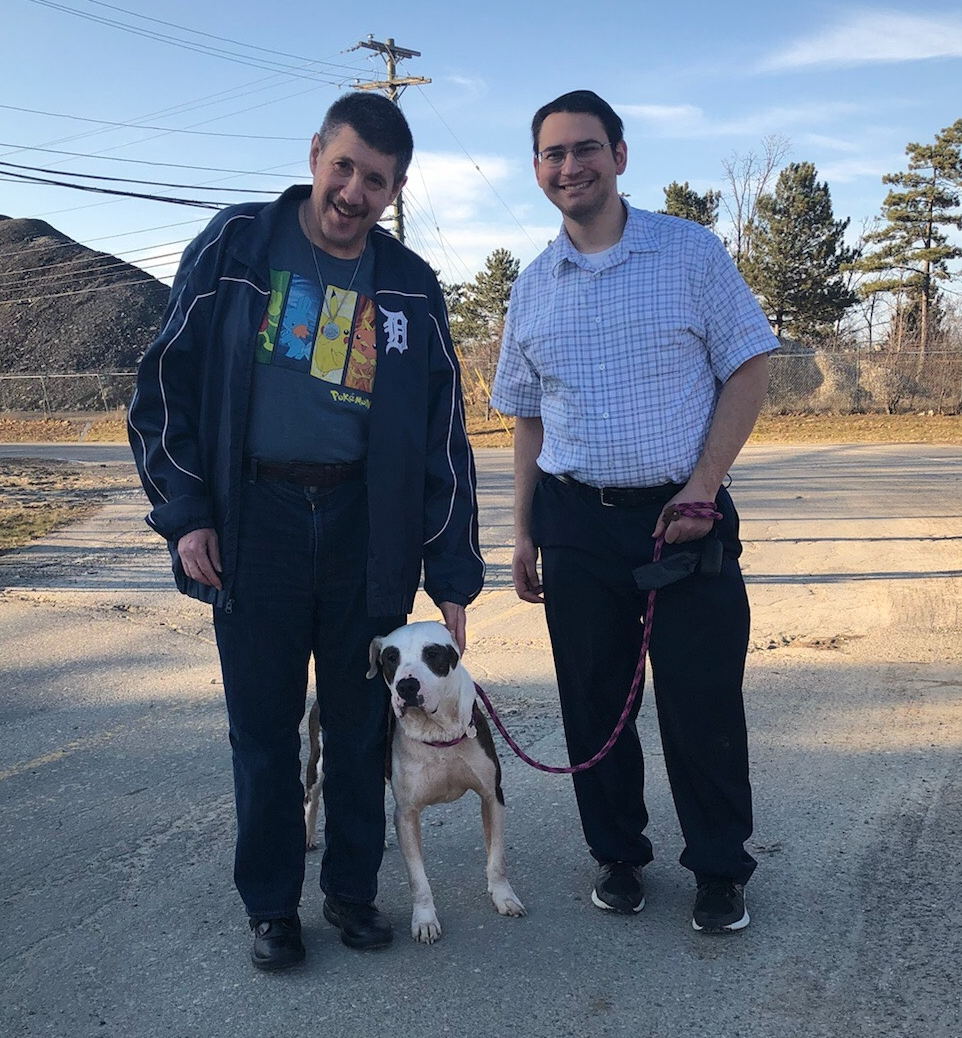 "Animal lover Jack (z""l) and Community Guide David Solomon, enjoyed their weekly dog walks while volunteering at Almost Home Animal Rescue in Southfield."
