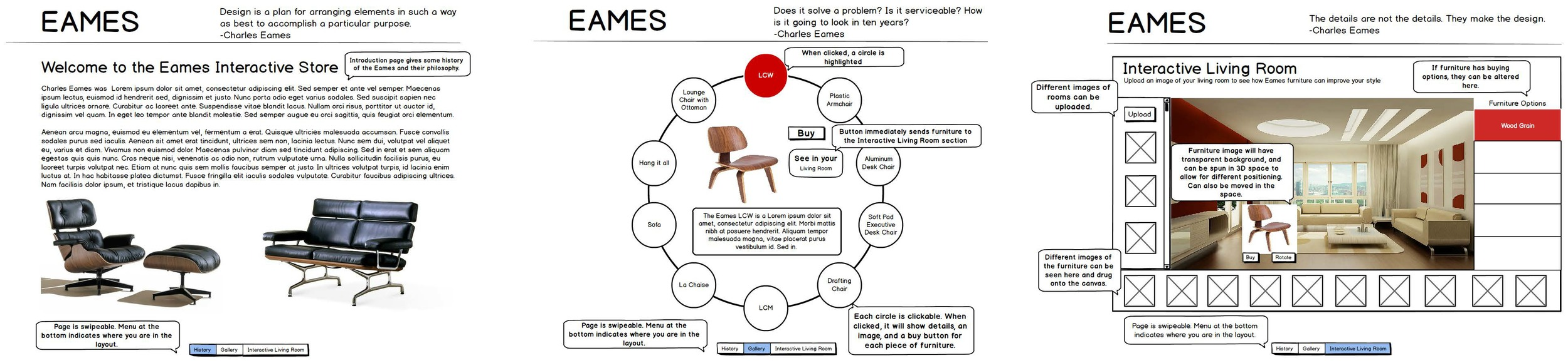 Eames furniture store wireframe. This image gives a tour of the various site pages.