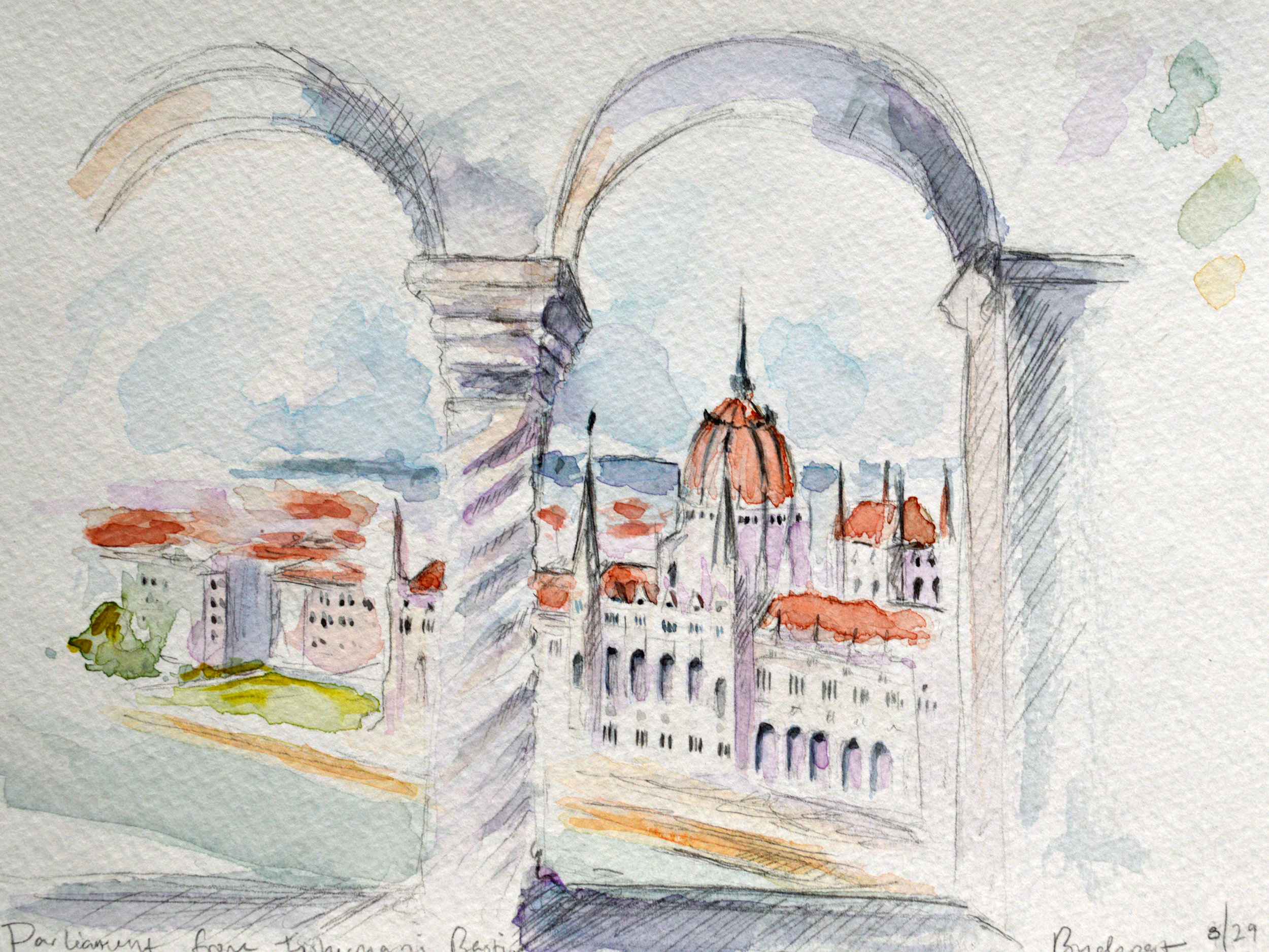 Watercolor study from Fisherman's Bastion by Matthias Church. The Buda side (the hilly side of Budapest) overlooking the Danube.