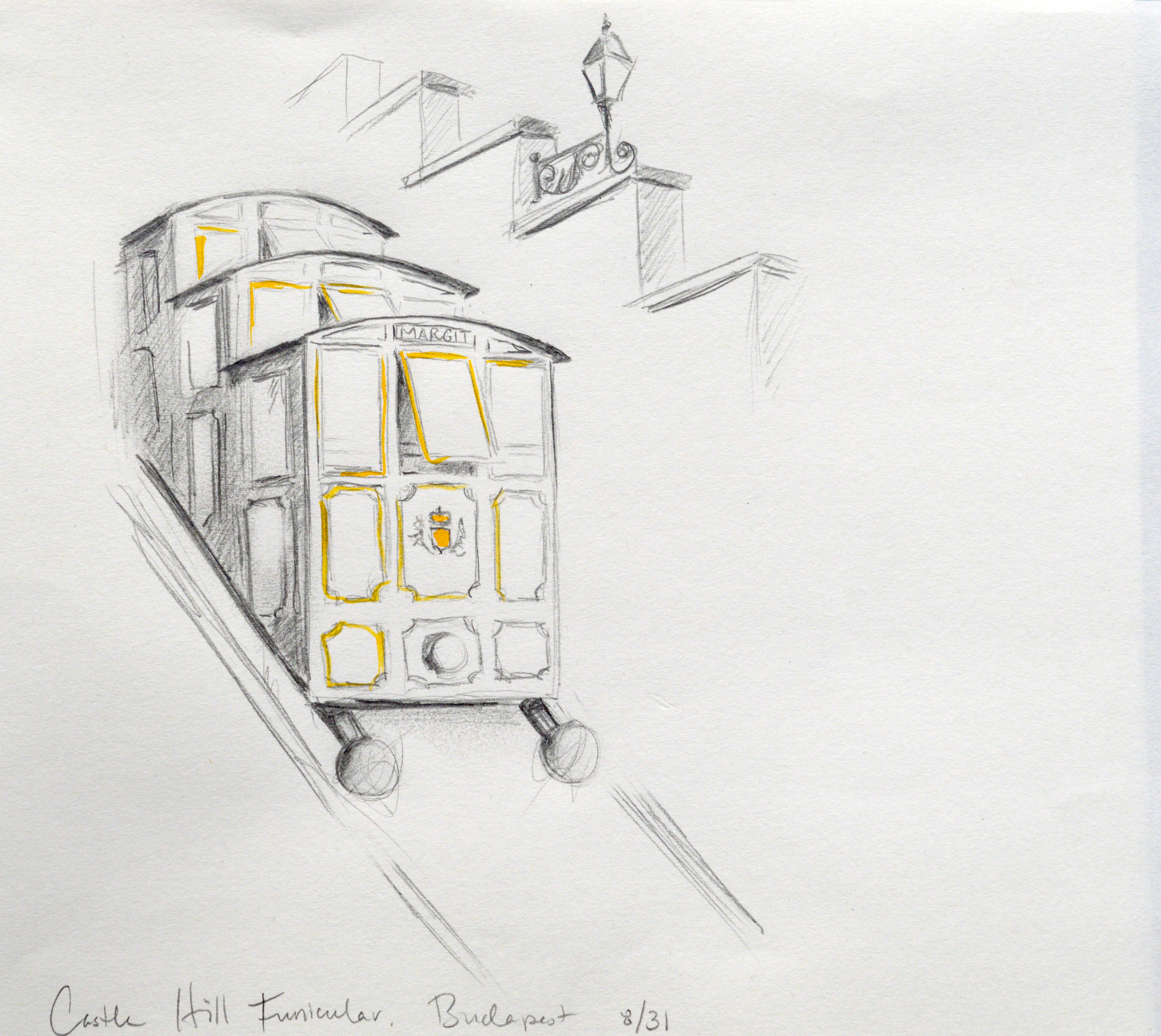 Pencil sketch of the Castle Hill Funicular.