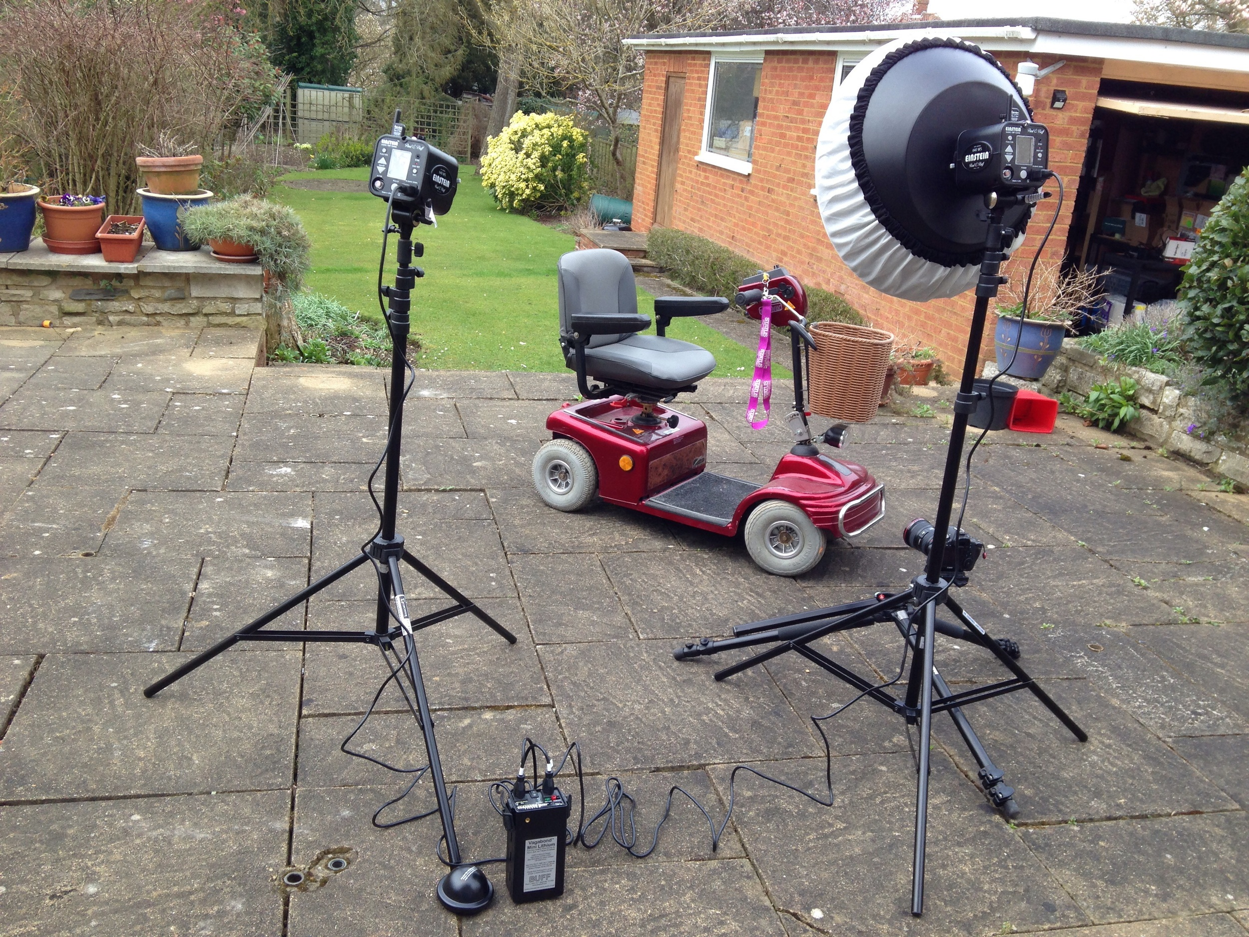 "2x Einsteins - one bare head & one 22"" beauty dish - Powered by Vagabond mini."