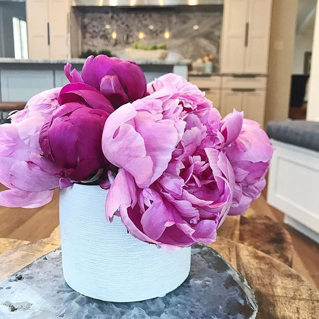 This beautiful weather has me in the mood for flowers!! Love love peonies. Hope everyone is having a fantastic Tuesday! #tuesday #flowers #peony #interiors #design #reno #kitchen