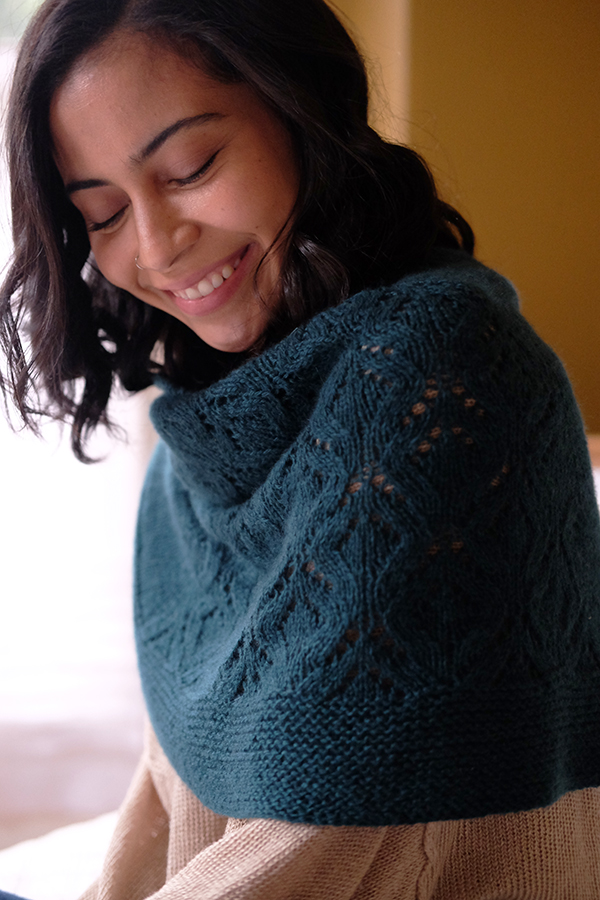 Pictured:  Wintertide Shawl  knit in  Cashmere FIngering