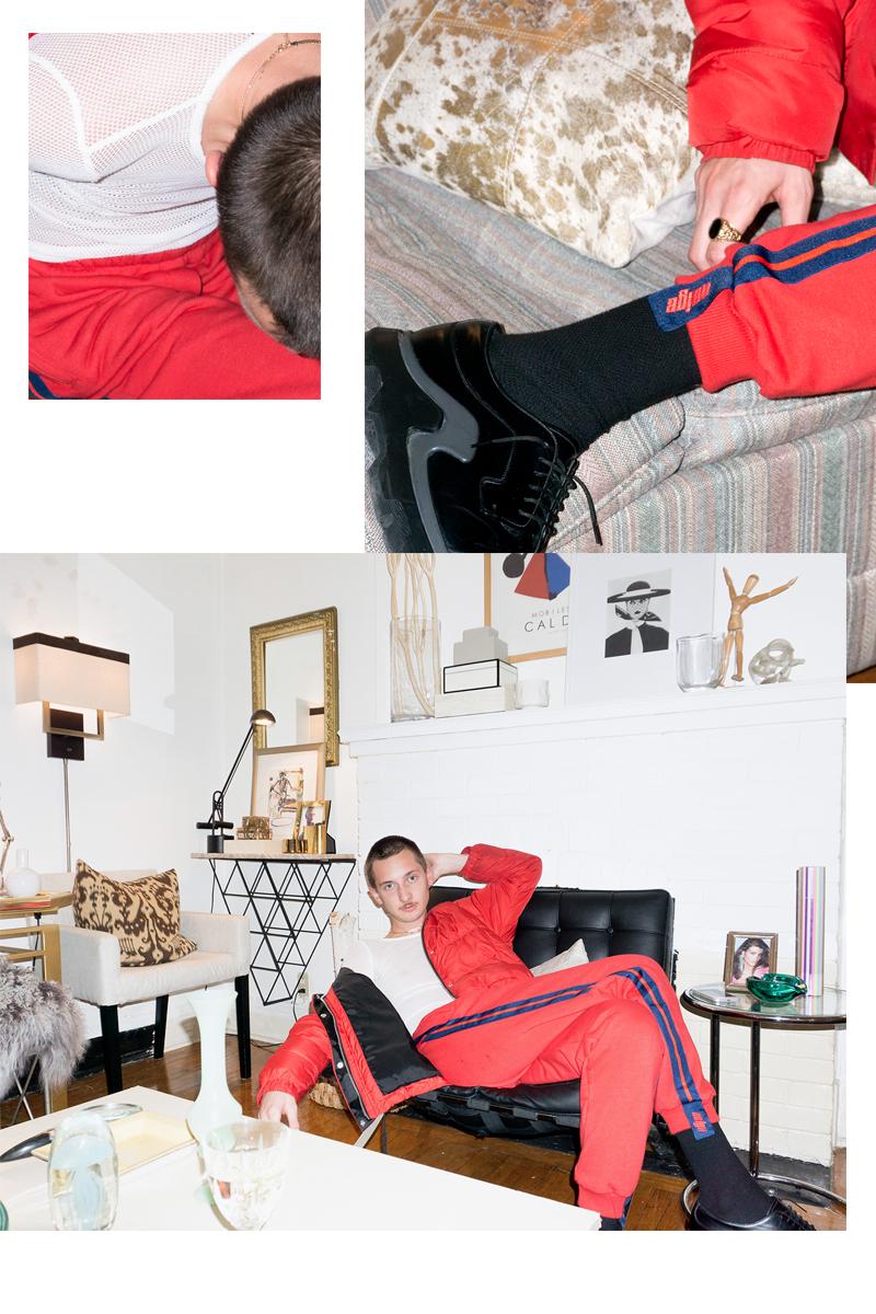 Ryan wears  Neige Red Sweatpants