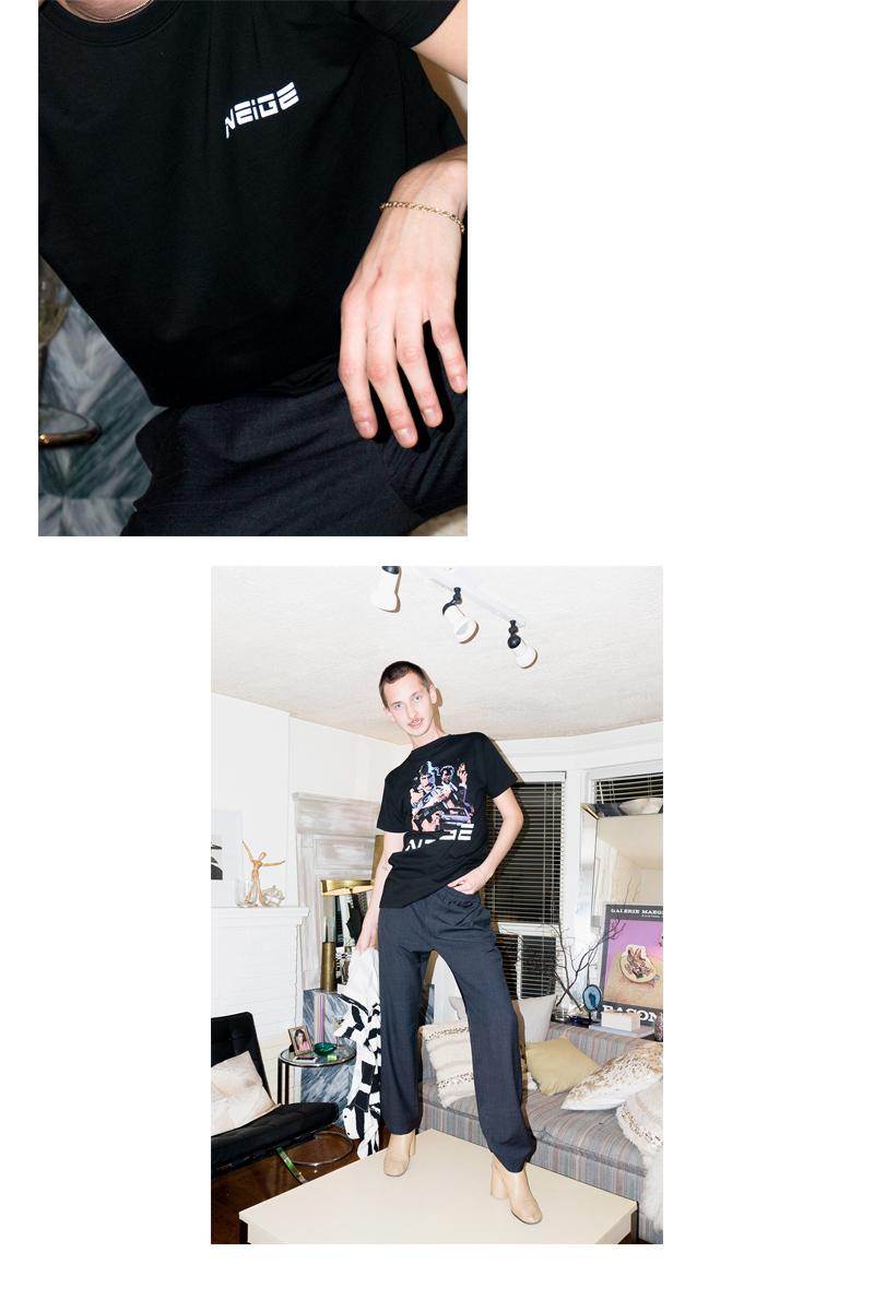 Ryan wears  Neige Striped Trousers  and  Neige Cops Tee (backwards)