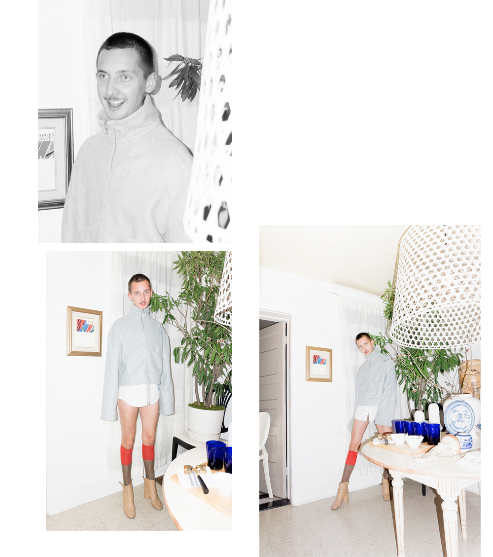 Ryan wears  House of Sunny Casual Zipper Fleece Sweater