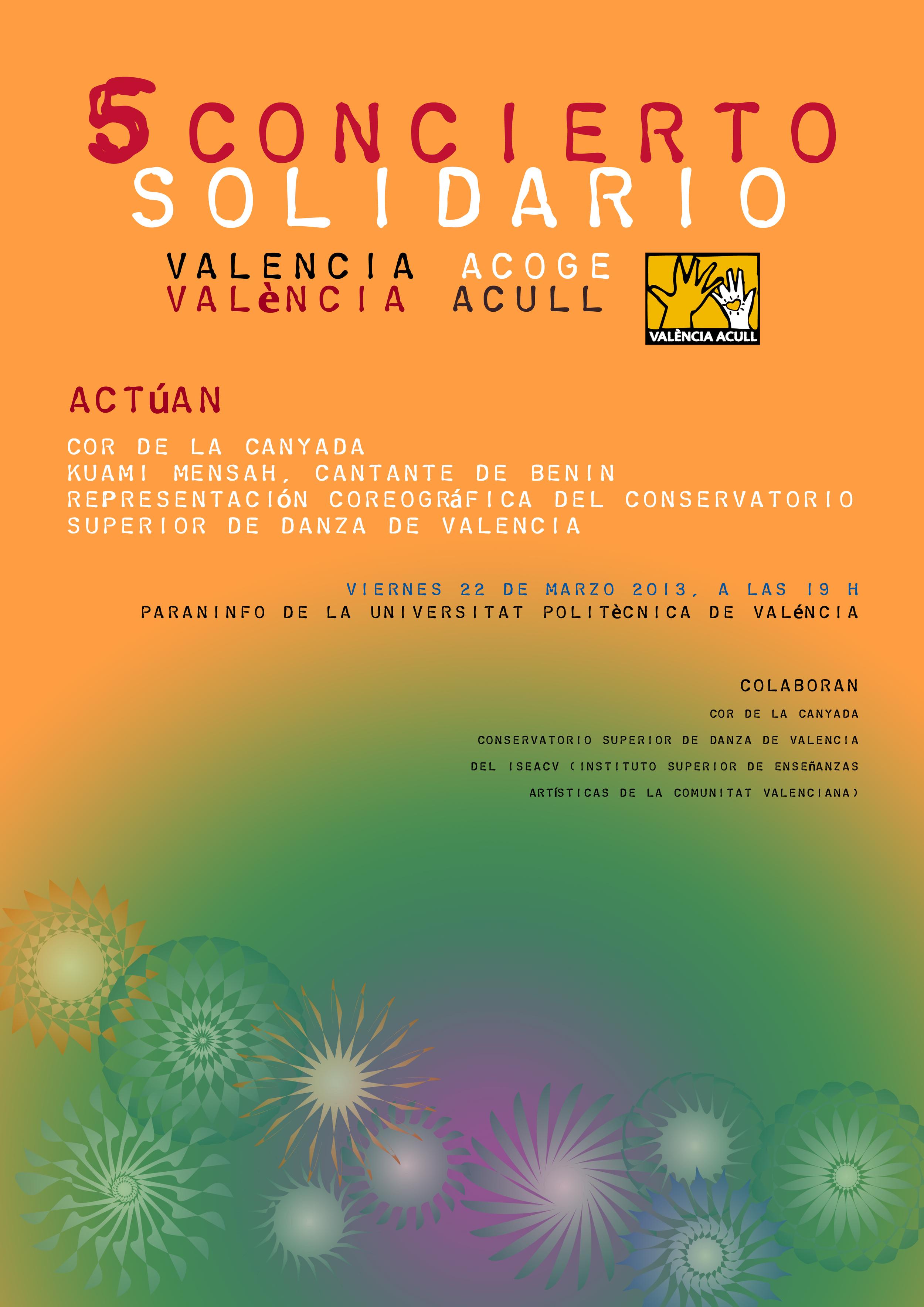 Cartel '5 Concierto solidario', Valencia Acoge
