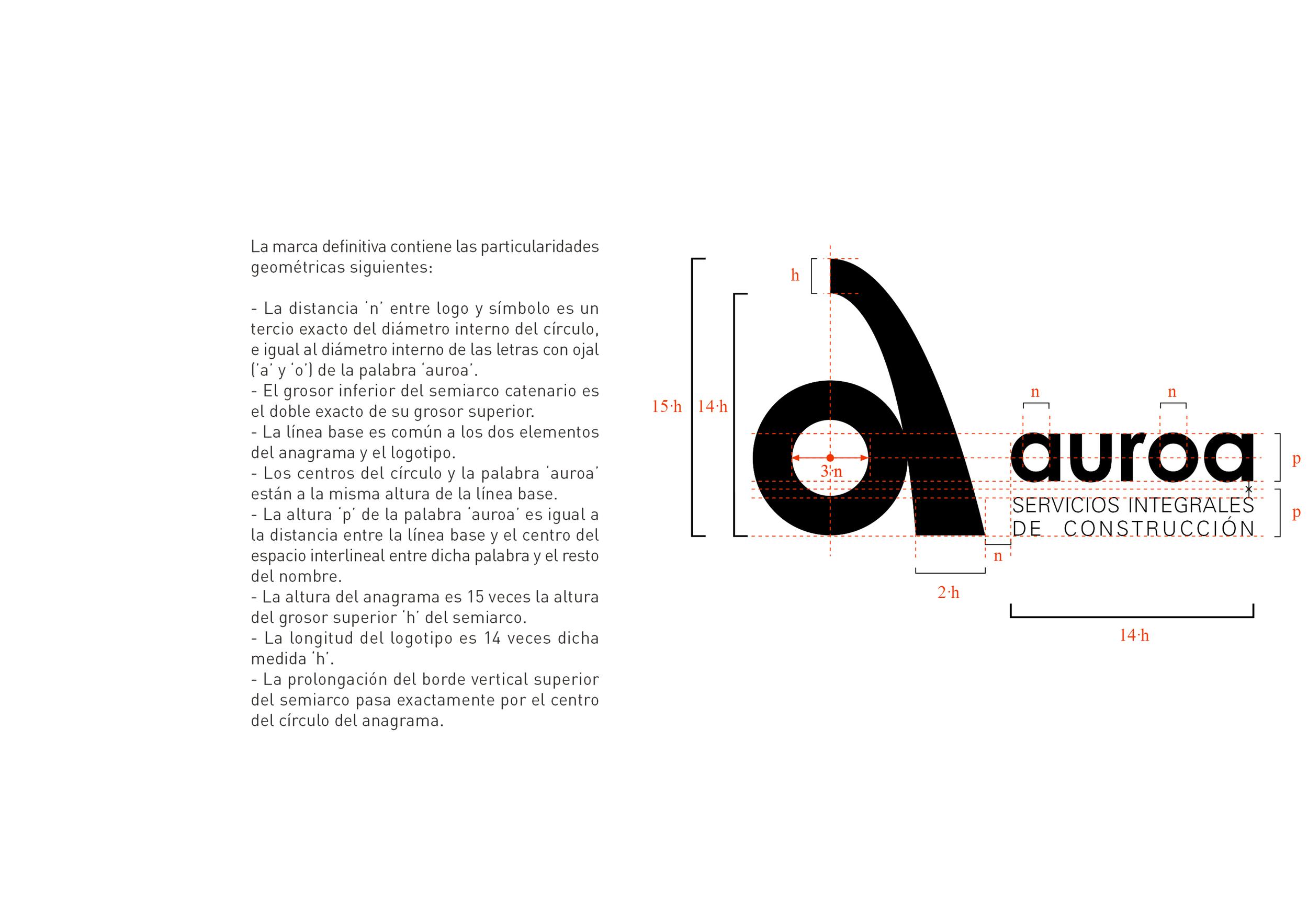 Estudio de proporciones para Logotipo Auroa, Servicios Integrales de Construcción