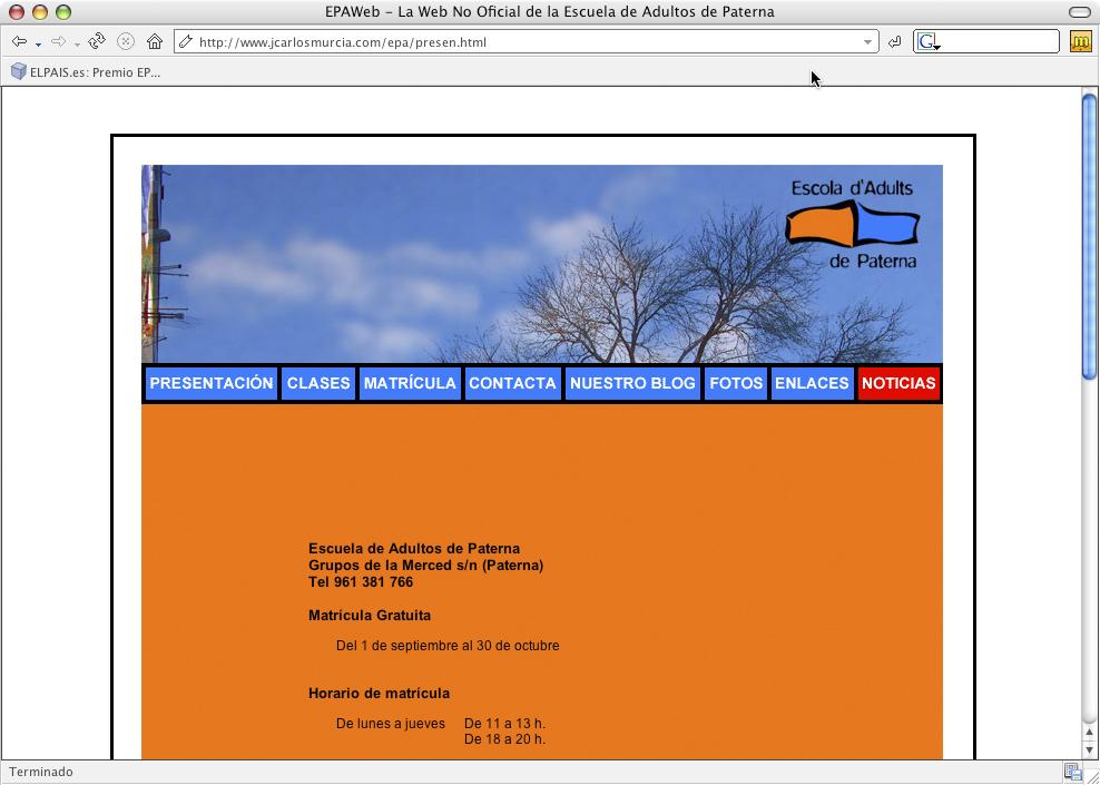 Web no oficial para la Escuela de Adultos de Paterna