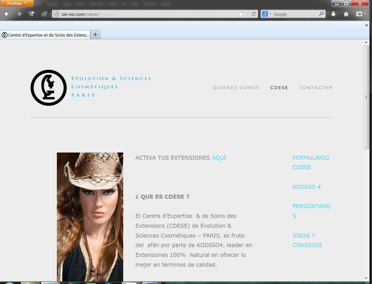 Web para Evolution and Sciences Cosmétiques, Paris