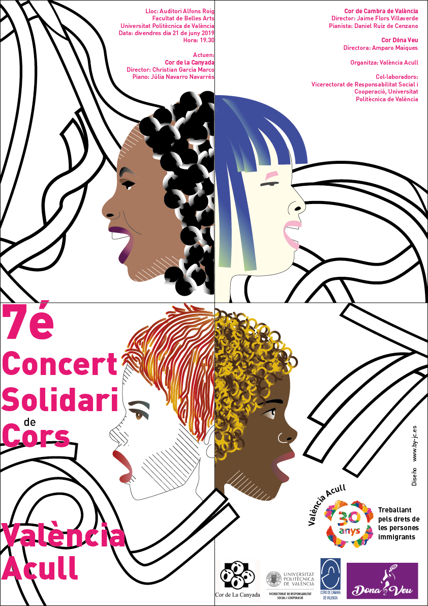 Cartel para el 7é Concert Solidari de Cors València Acull