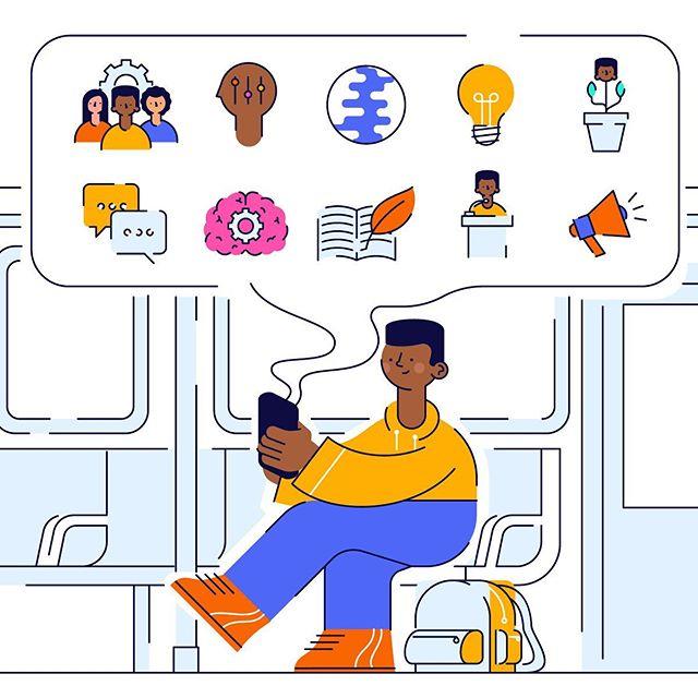Learn Anywhere⠀ ⠀ ⠀ ⠀ •⠀ •⠀ •⠀ •⠀ •⠀ •⠀ •⠀ •⠀ •⠀ •⠀ •⠀ •⠀ •⠀ •⠀ •⠀ •⠀ #illustration #design #art #graphicdesign #vector #creative #adobeillustrator #icon #iconography #illustrator #drawing #artist #designer #freelance #illustration #startup #sketchbook #character #characterdesign  #designspiration #brand #commute #work #learn