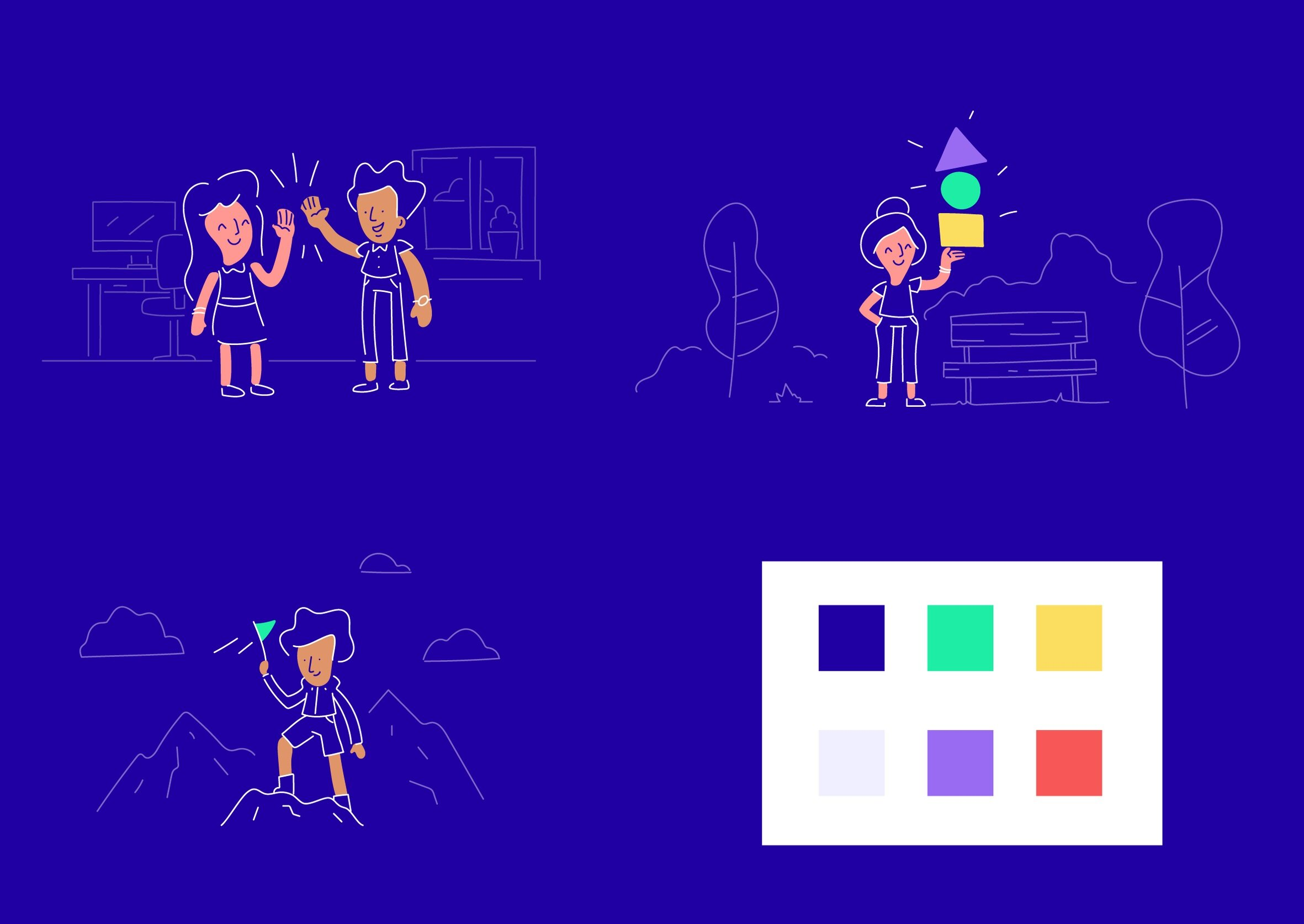 Scratch's official illustration style and colour palette