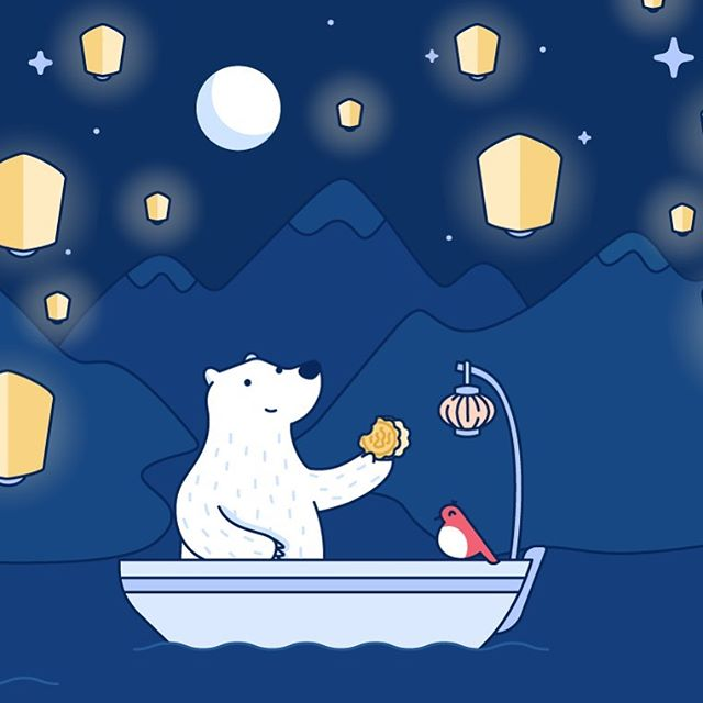 I created this for Bear App to celebrate mid-autumn festival, complete with moon cake. ⠀ ⠀ •⠀ •⠀ •⠀ •⠀ •⠀ •⠀ •⠀ •⠀ •⠀ •⠀ •⠀ •⠀ •⠀ •⠀ •⠀ #illustration #design #art #graphicdesign #vector #creative #adobeillustrator #icon #iconography #illustrator #drawing #artist #designer #freelance #illustration #startup #sketchbook #character #characterdesign  #designspiration #brand #process #bear #bearapp #midautumnfestival #mooncake #lantern