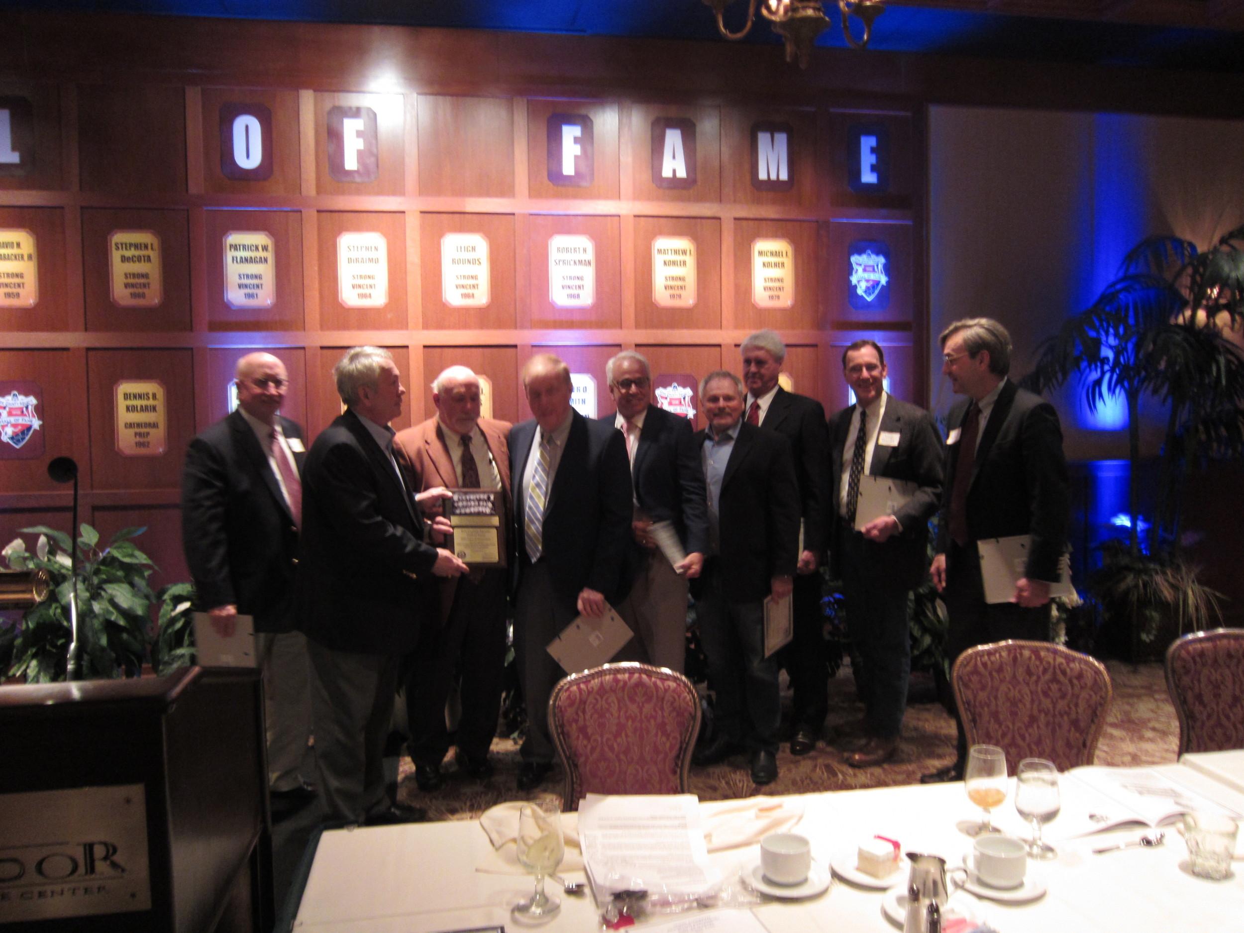 Barry Grossman, County Executive (3rd from left) with members of the 2013 Team of Distinction.   Dave Nelson, Greg Lampe, Grossman, Joe Deimel, Bill Steinbrink, Steve DiRaimo, Les Moore, Leigh Rounds, Bill Lillis