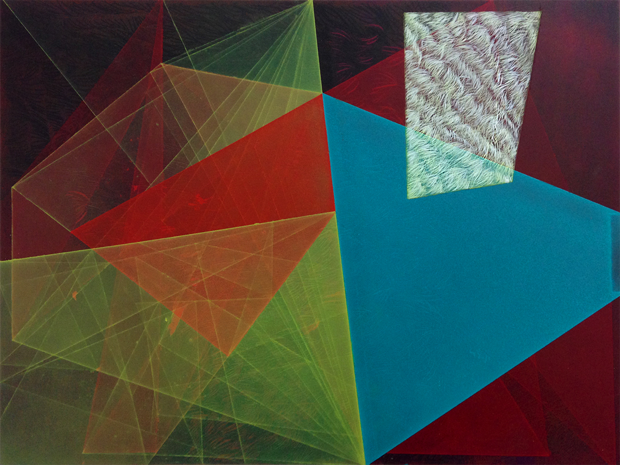 "Emmy Mikelson,  Threshold Composition no. 30,  9""x12"", oil and ink on panel, 2015"