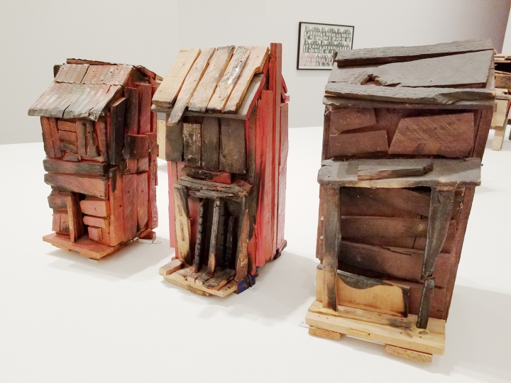 "Beverly Buchanan, ""Three Families (A Memorial Piece with Scars)"" (1989) wood with paint, charcoal, and metal. from   Hyperallergic"