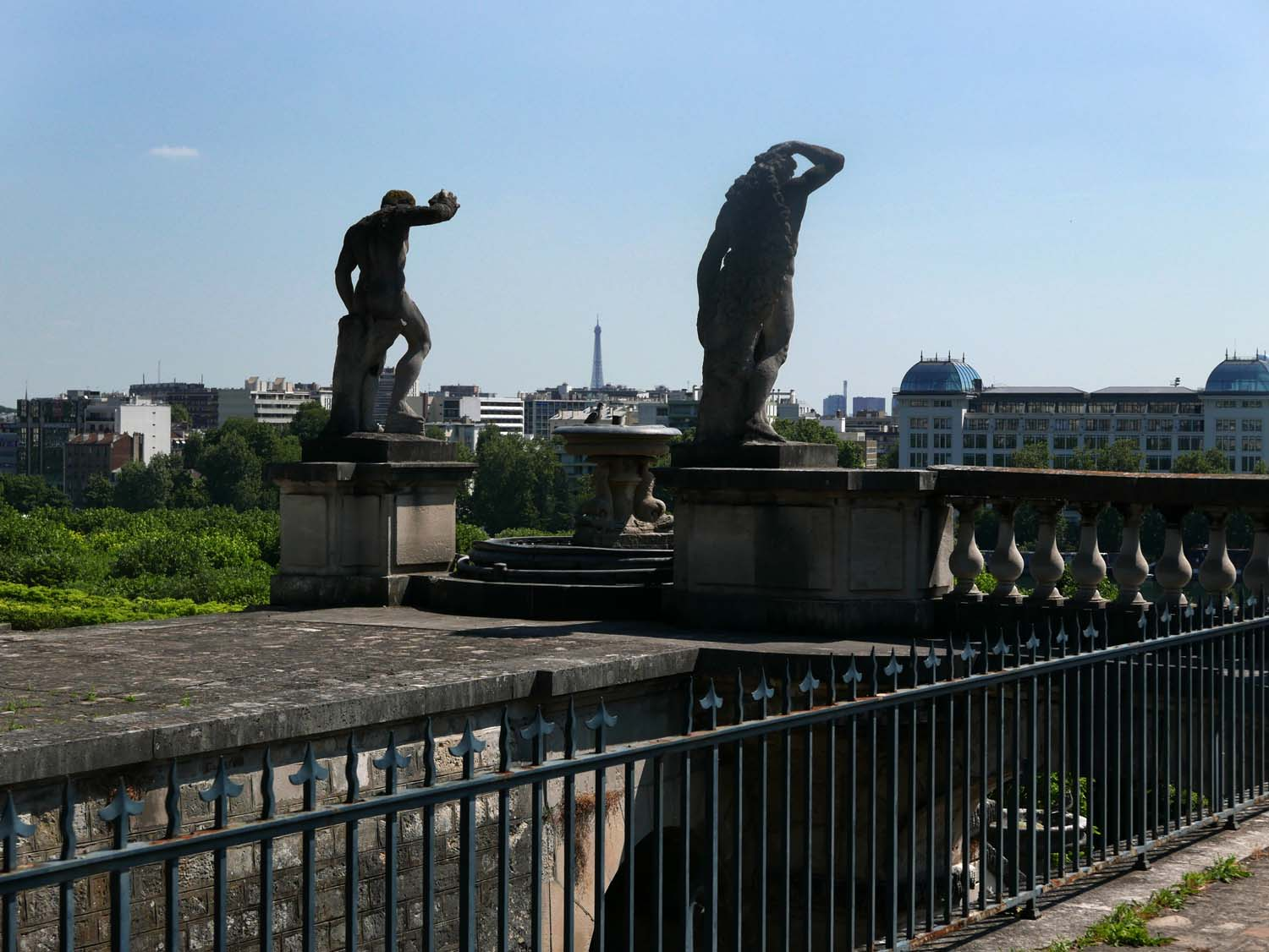 The view from the top of the fountain, looking toward the Seine and Paris