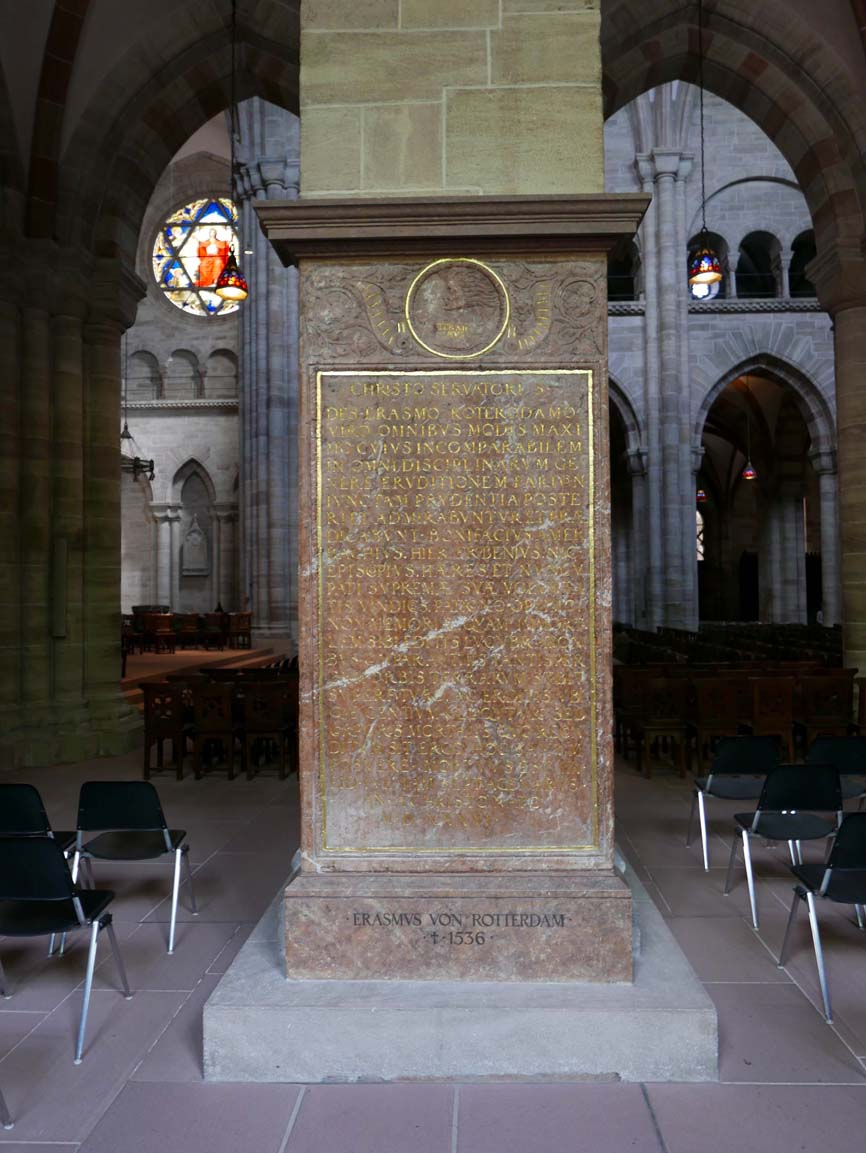 The grave plaque of Erasmus inside the Münster
