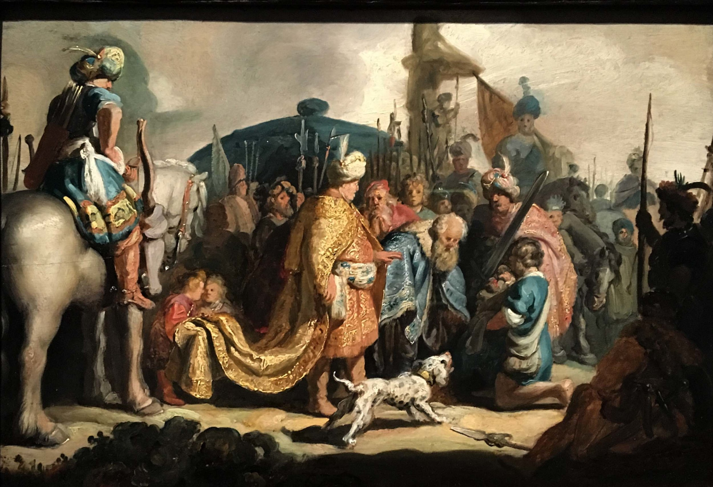 Rembrandt, David presenting King Saul with the head of Goliath, 1627