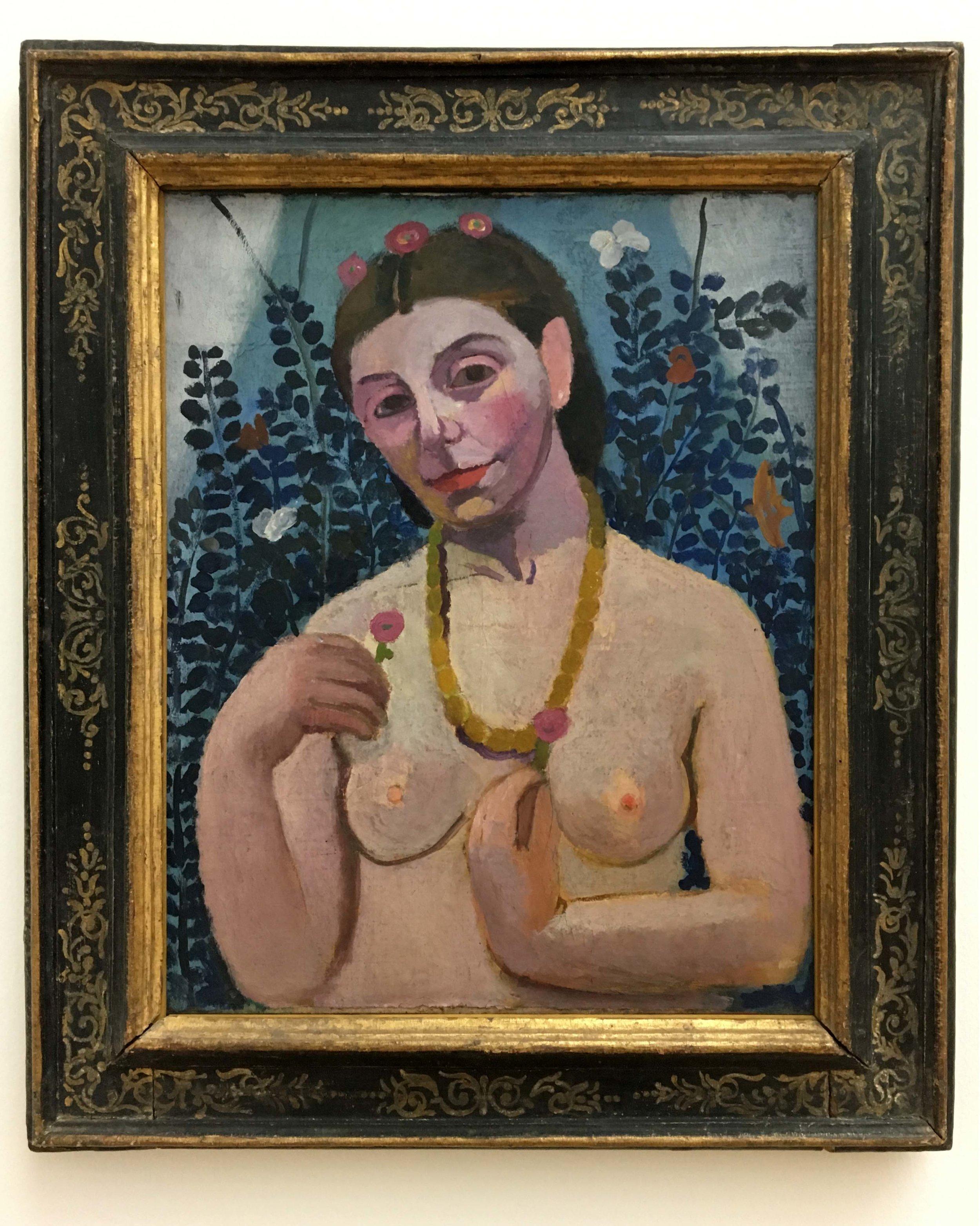 Paula Modersohn-Becker, Self portrait semi-nude with amber necklace, 1906