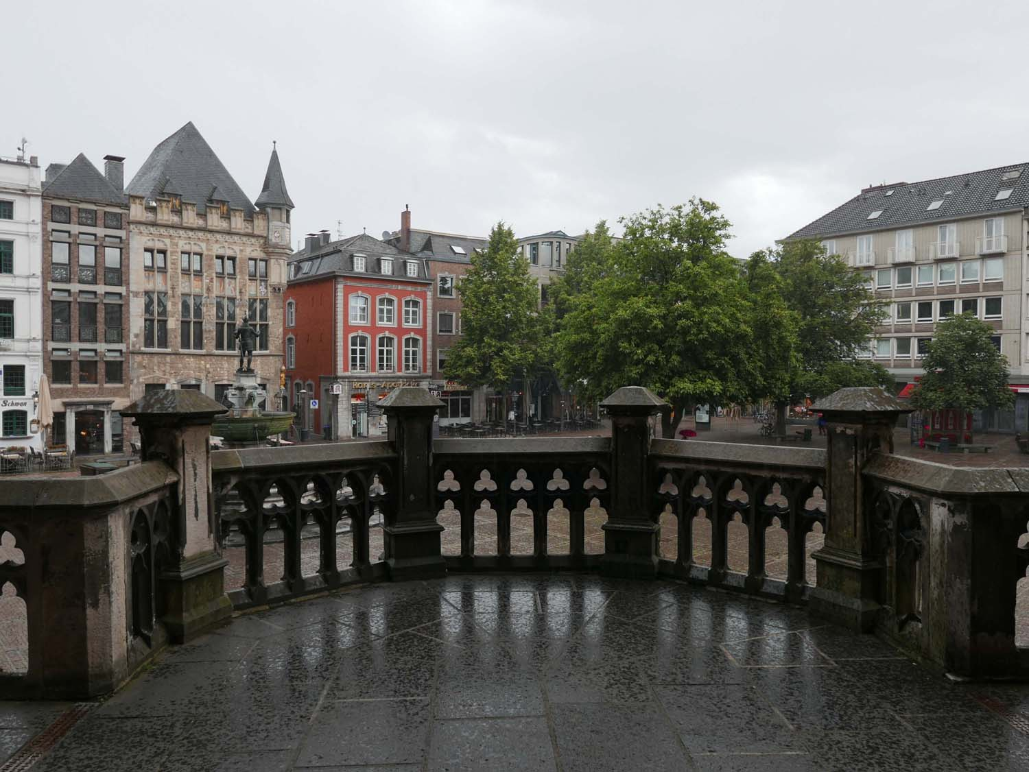 view from the Rathaus in the rain