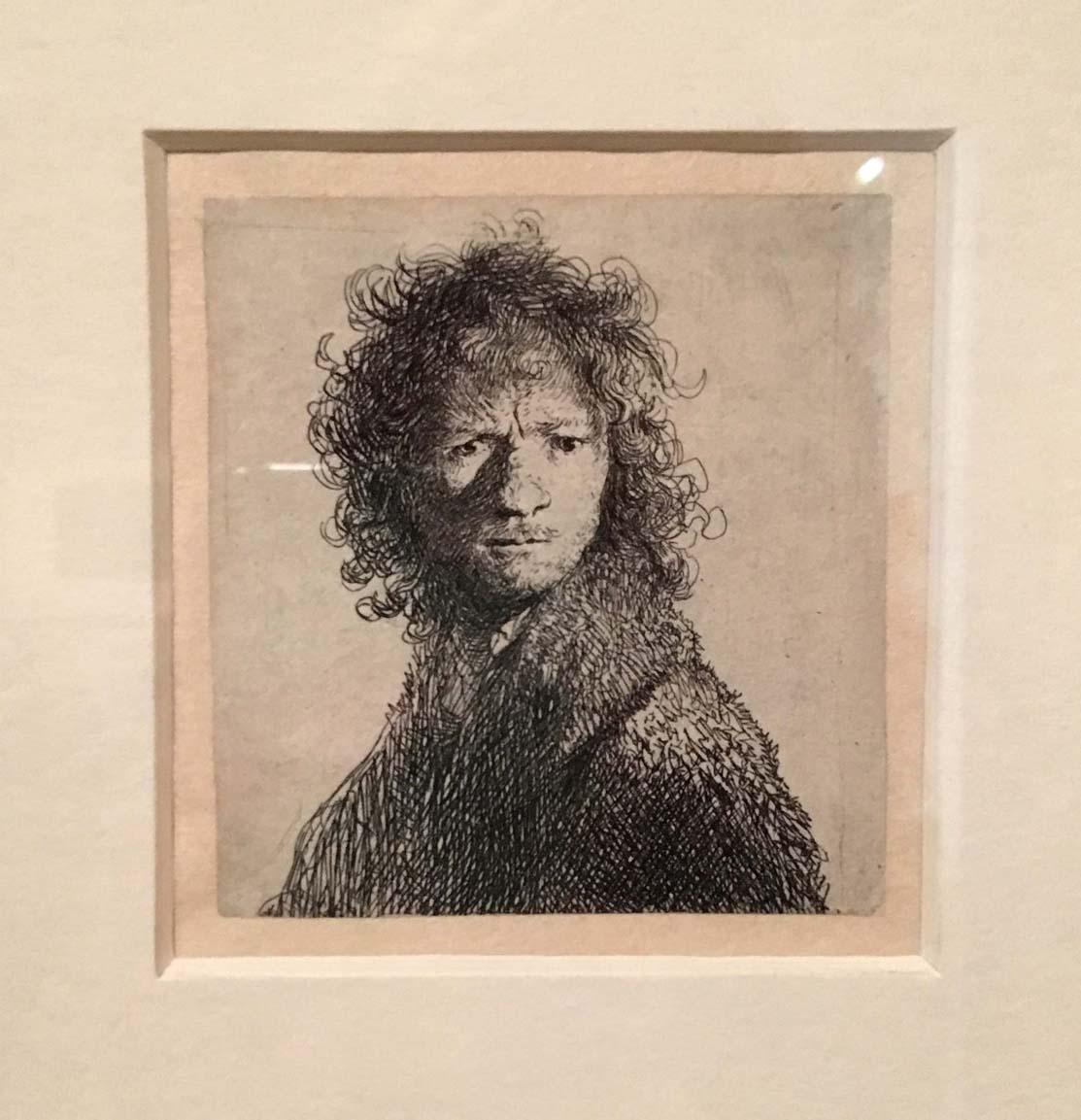 Rembrandt, Self portrait, etching