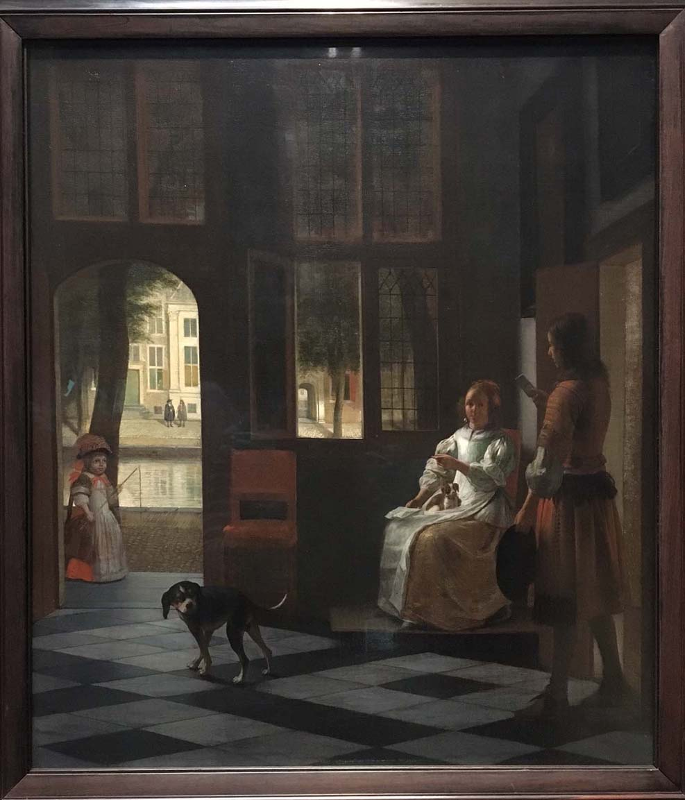 Man handing a letter to a woman in the entrance hall of a house, Pieter de Hooch, 1670