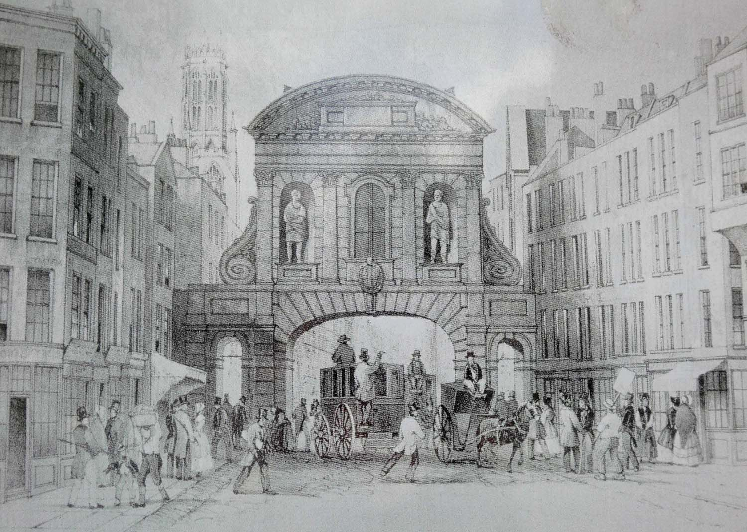 view of Temple Bar in 1845