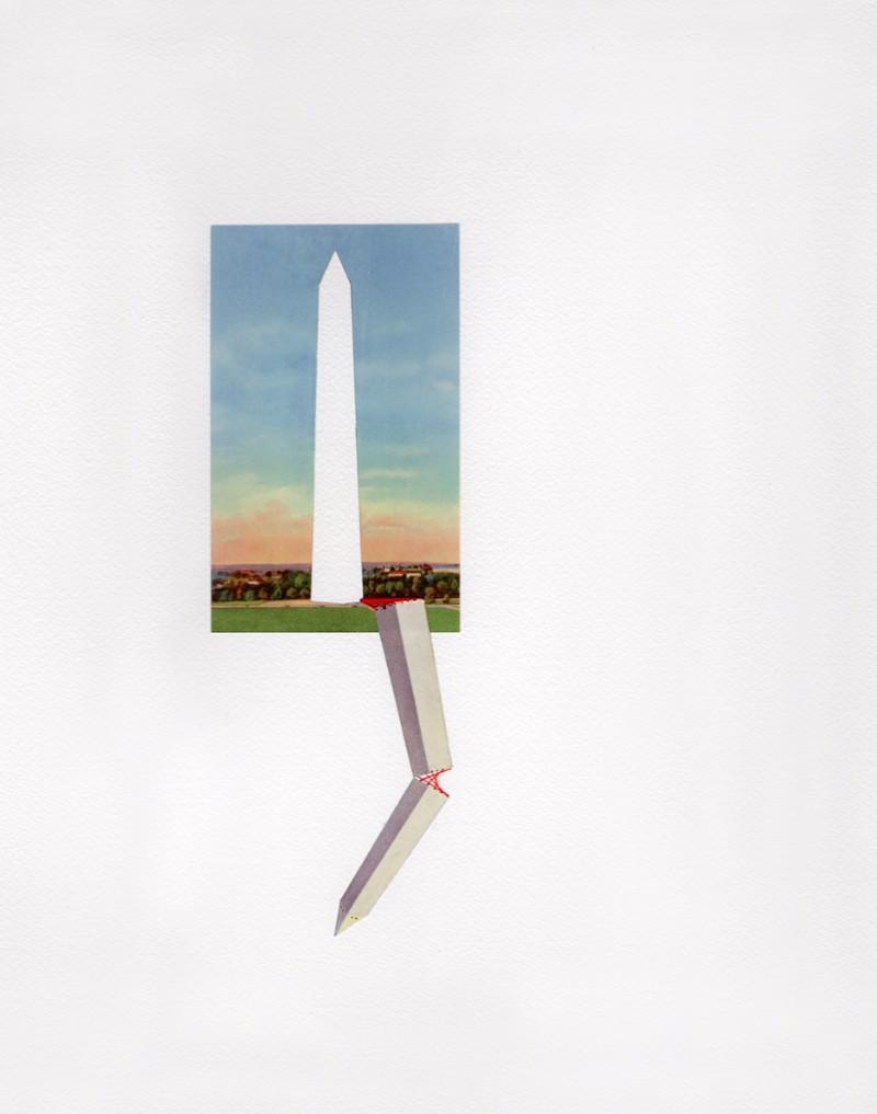 Washington Monument, 2017, vintage postcard and thread on paper