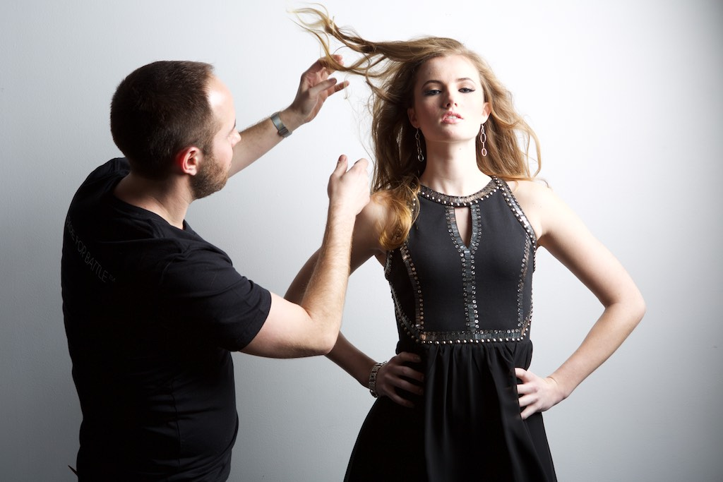 WarPaint International Artistic Director for Hair, Benjamin Rodich with model Ashley.