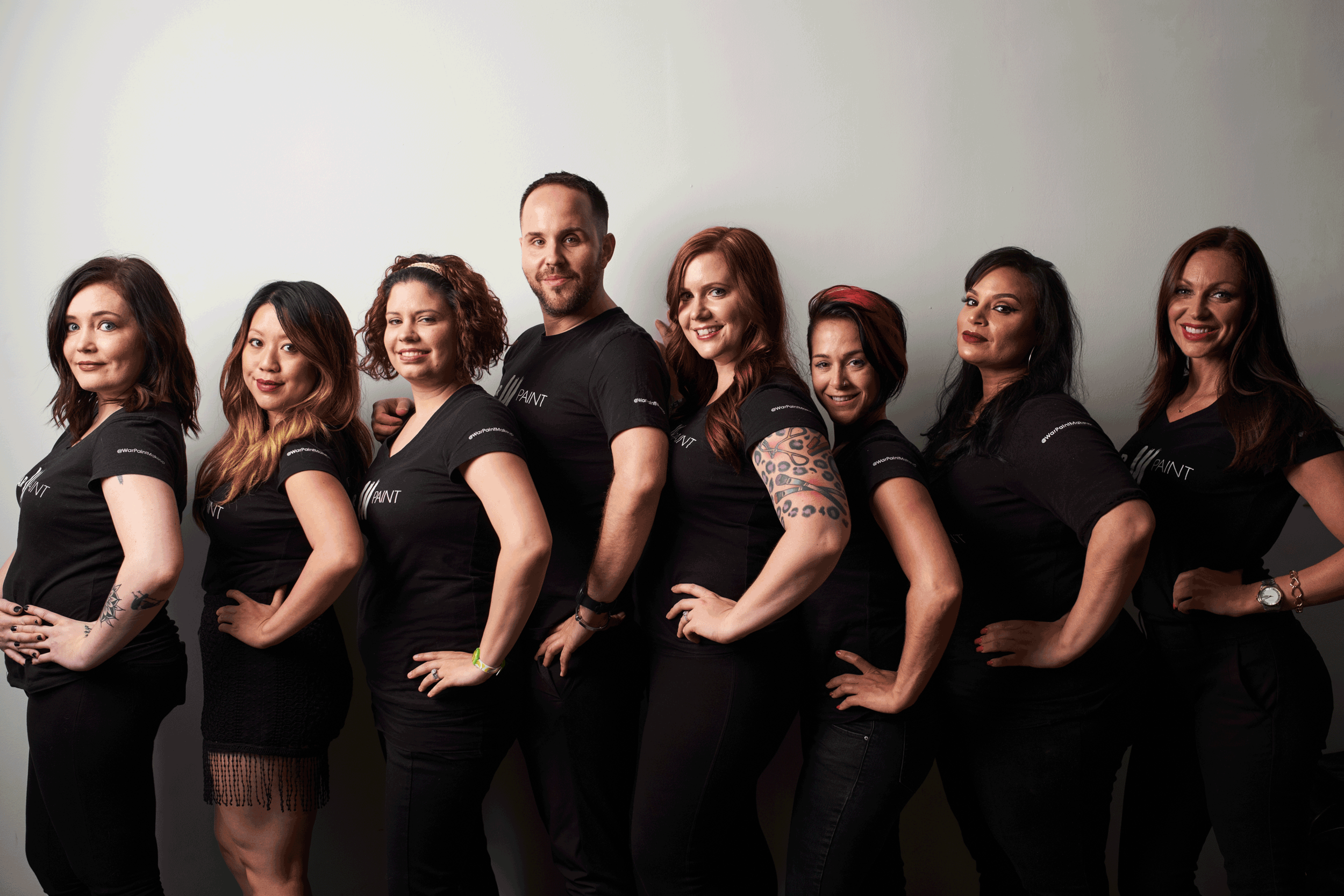 The FW 2016 Trend Collection Team.   From left to right: Hair Assistant Artisan Heidi, Makeup Assistant Artisan Malee,Hair Assistant Artisan Kristina,Artistic Director Benjamin Rodich, Creative Director Jessica Mae, Hair Assistant Artisan Katie, Makeup Assistant Artisan Priscilla (NYC), Makeup Assistant Artisan Alison Joy.