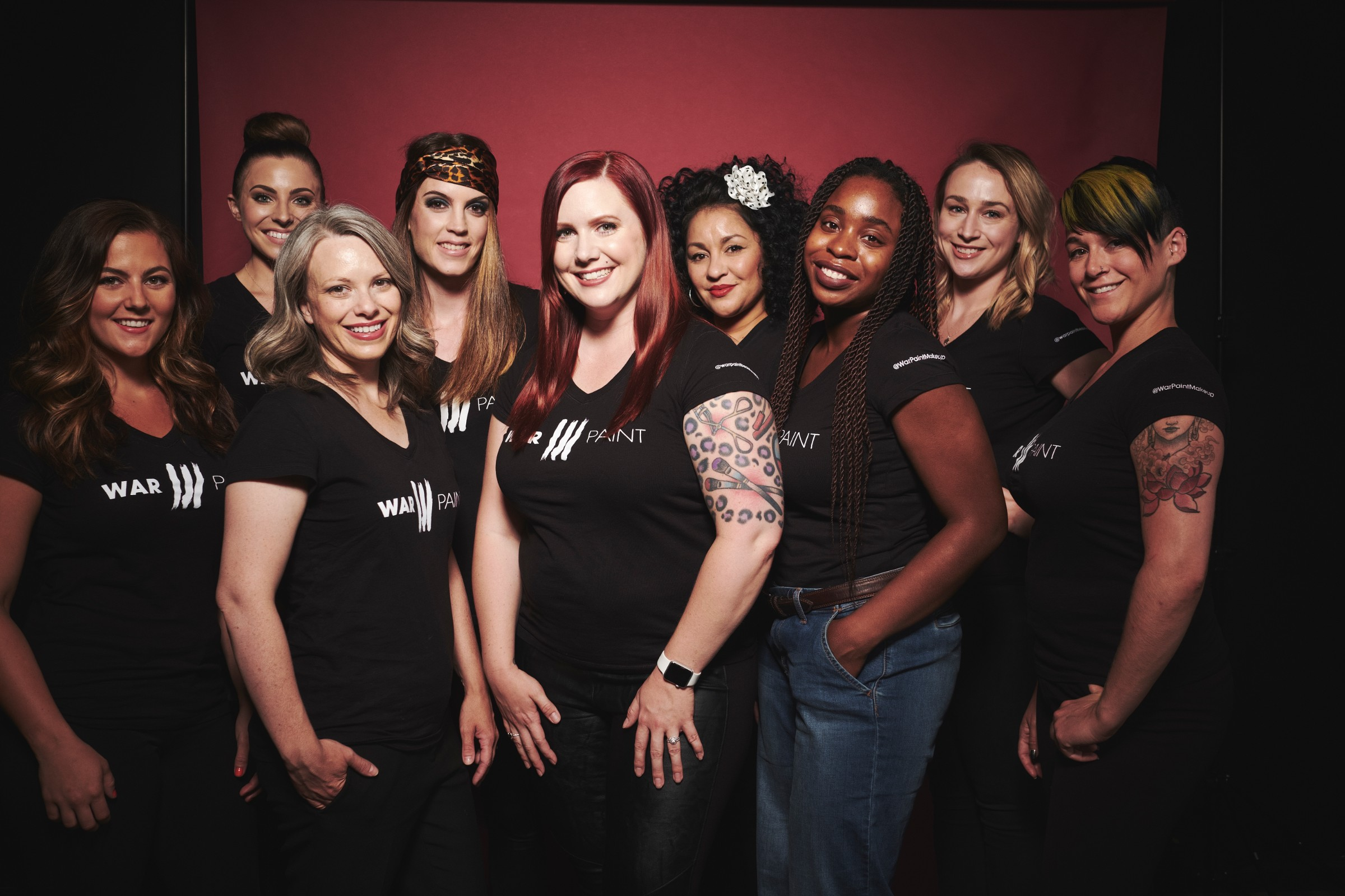 The Fall/Winter 2017 Trend Collection Team.   From left to right: Makeup Assistant Artisan Claire, Makeup Assistant Artisan Mia,Hair Assistant Artisan Nicole, Hair Assistant Artisan Mariah, Creative Director Jessica Mae, Hair Assistant Artisan Wendy, WarPaint Intern Debbie, Makeup Assistant Artisan Erin, & WarPaint Director of Education Katie Rote.