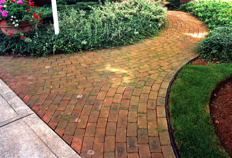 Curving Brick Entrance Walk