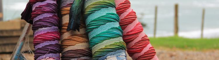 Shibori Scarves ready for steaming overlooking Ngarunui beach Raglan