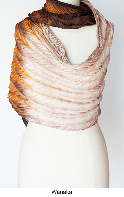 Wanaka silk scarves and wraps by artist Jean Carbon in Raglan New Zealand