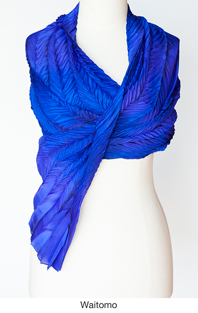 Waitomo silk scarves and wraps by artist Jean Carbon in Raglan New Zealand
