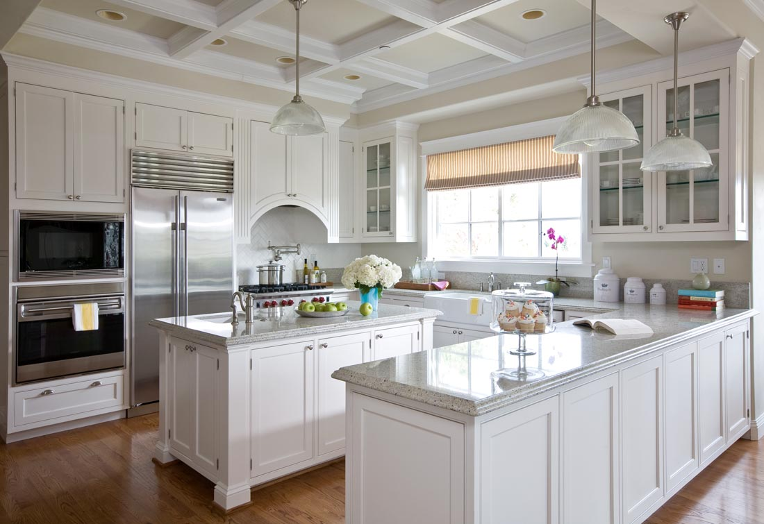 Sonoma County Estate Kitchen with Coffered Ceiling