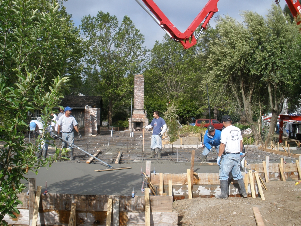 Cement company pouring foundation for re-build of 1970's Ranch style home in Healdsburg