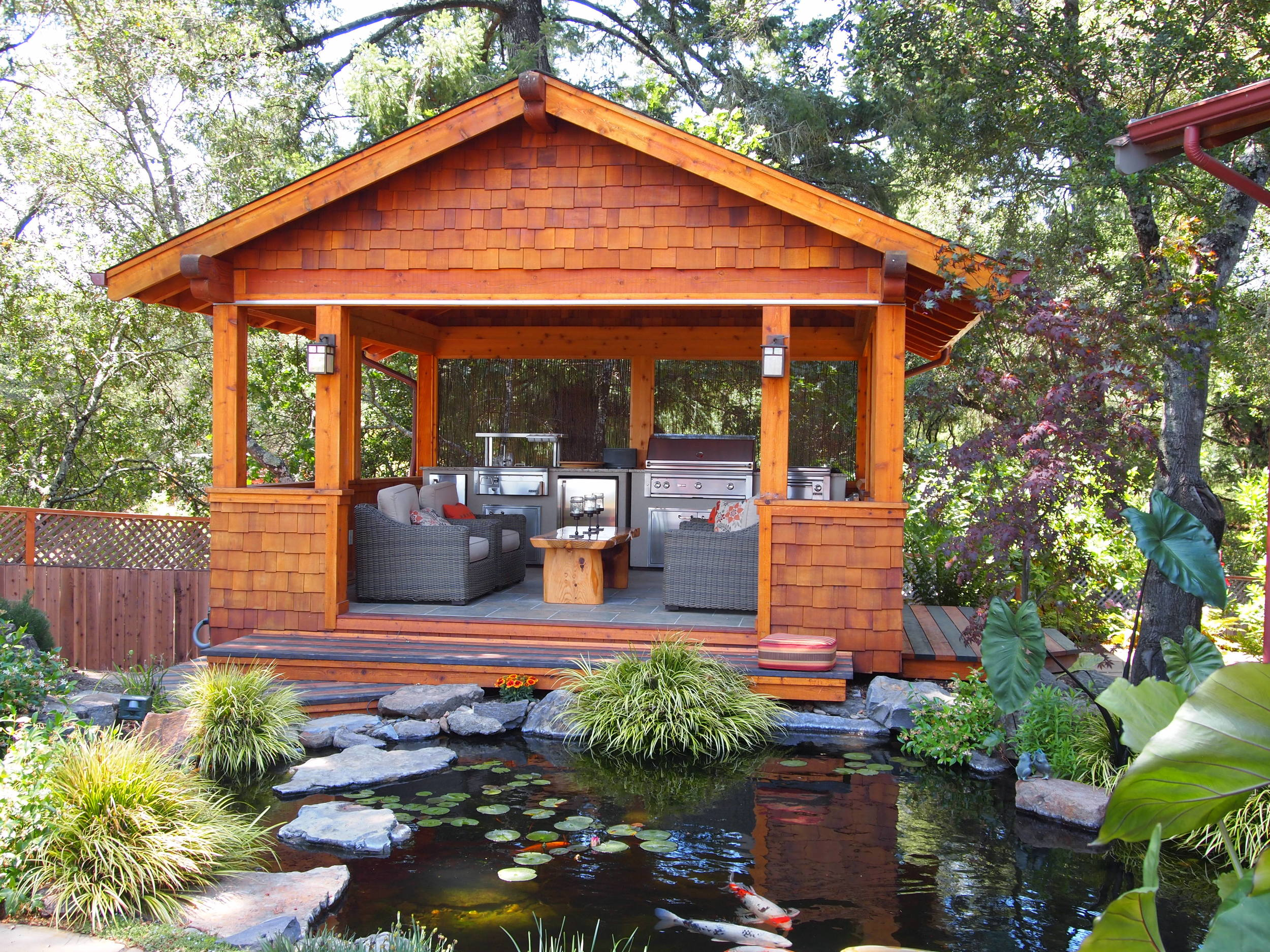 Outdoor kitchen combining Asian and Craftsman influences
