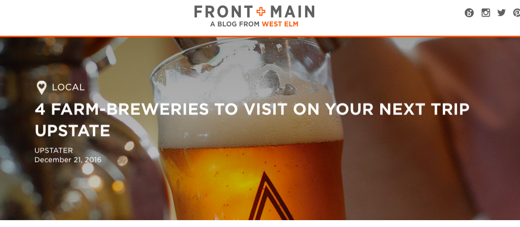Visit Arrowood Farms and these other great breweries while you are upstate! Thanks West Elm!
