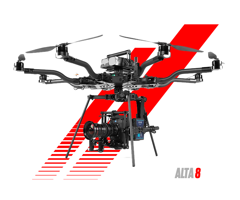Freefly Alta 8 - The Cadillac of drones... This drone is most comfortable flying an Alexa Mini // Cinema Lenses // and wireless FIZ control // 20lb payload max // 9-12min flight times //