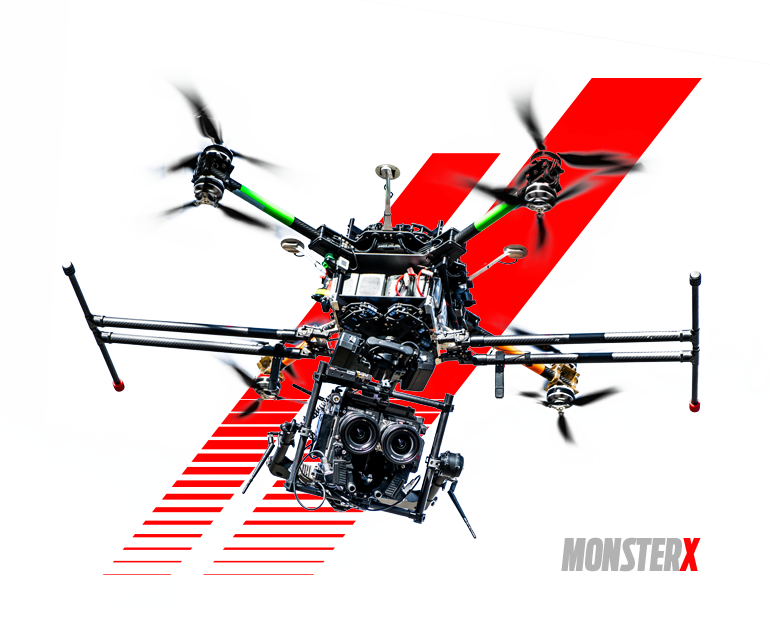 MONSTER X - This drone was custom built by MXM to our specifications to lift out IMAX 3D 8K Stero Camera package  // Top & Bottom camera mount // 8-12min flight times // 25-35lb Payload // 13,000ft take off altitude //
