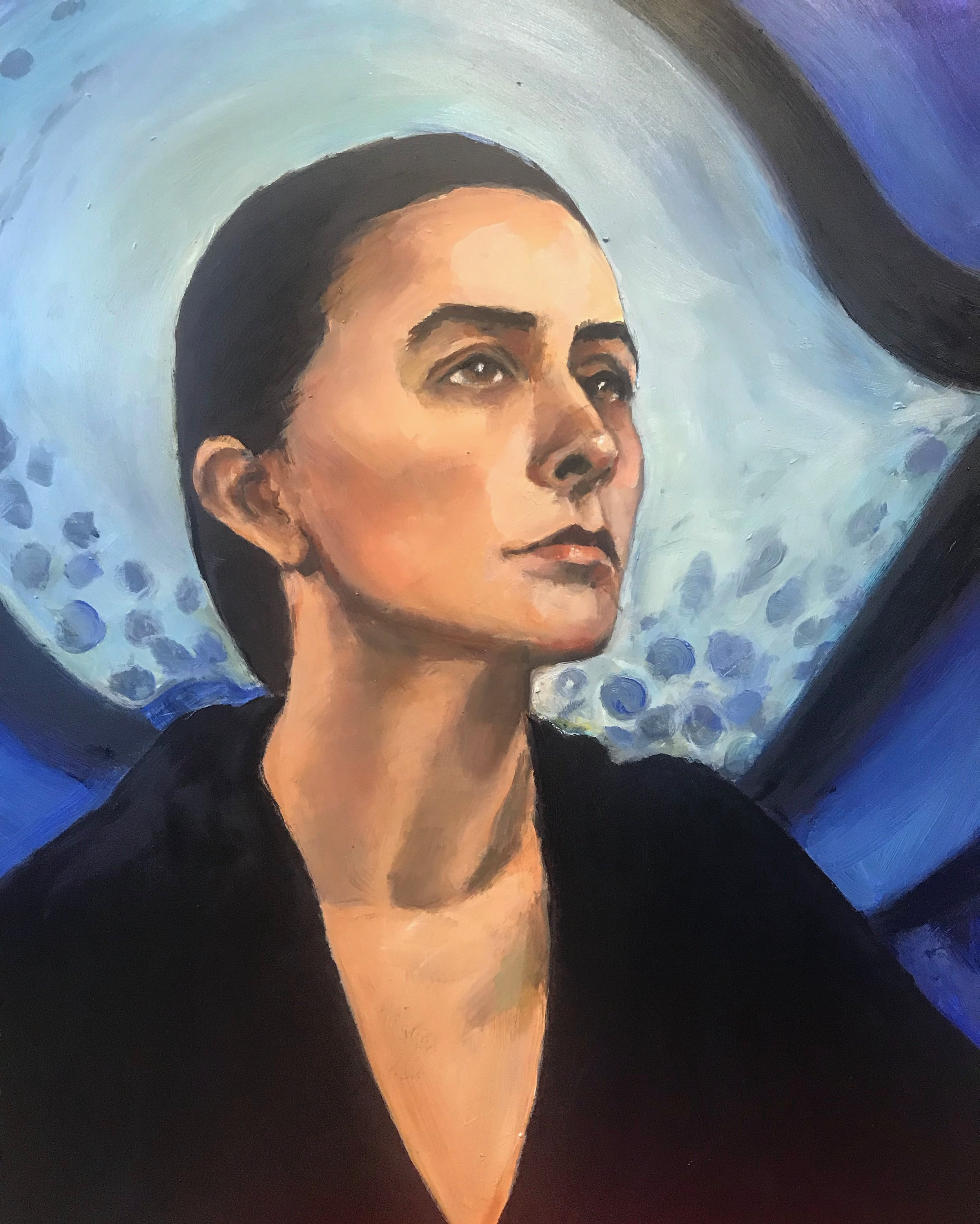"""Georgia O'Keeffe 18x24"""" Oil on Board. """" I've been absolutely terrified every moment of my life - and I've never let it keep me from doing a single thing I wanted to do.""""—G. O'Keefe"""