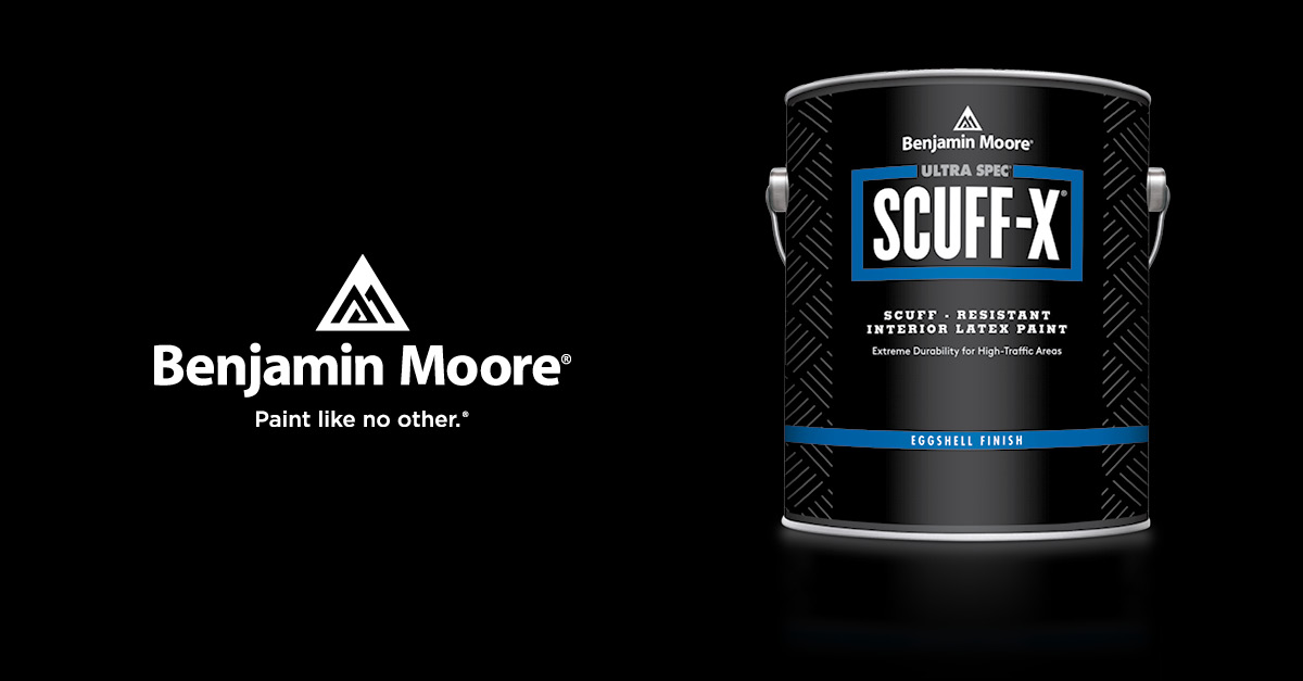 Introducing Benjamin Moores Scuff-X, Engineered With proprietary Scuff resistance technology to deliver superior protection & washability in high traffic environments.